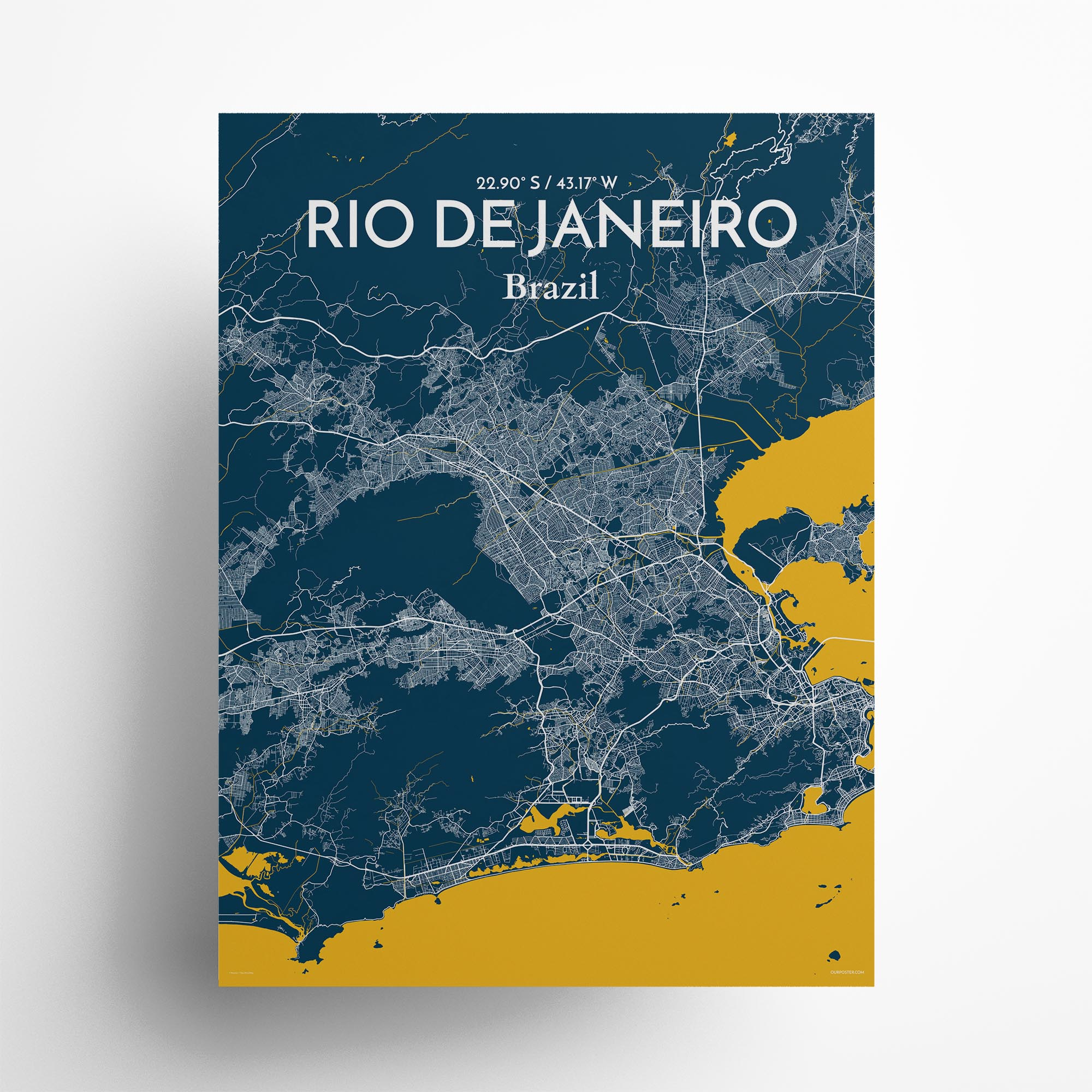 "Rio de Janeiro city map poster in Amuse of size 18"" x 24"""