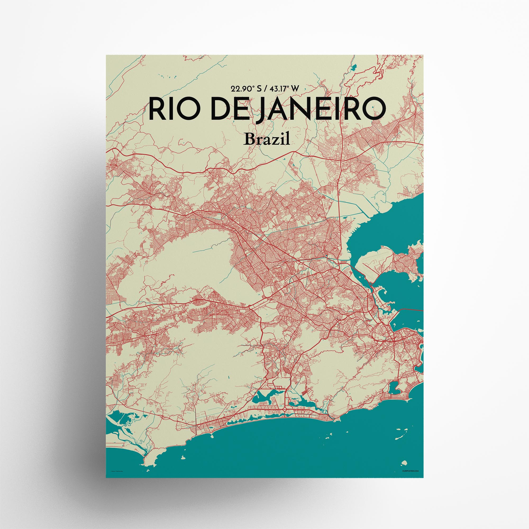 "Rio de Janeiro city map poster in Tricolor of size 18"" x 24"""