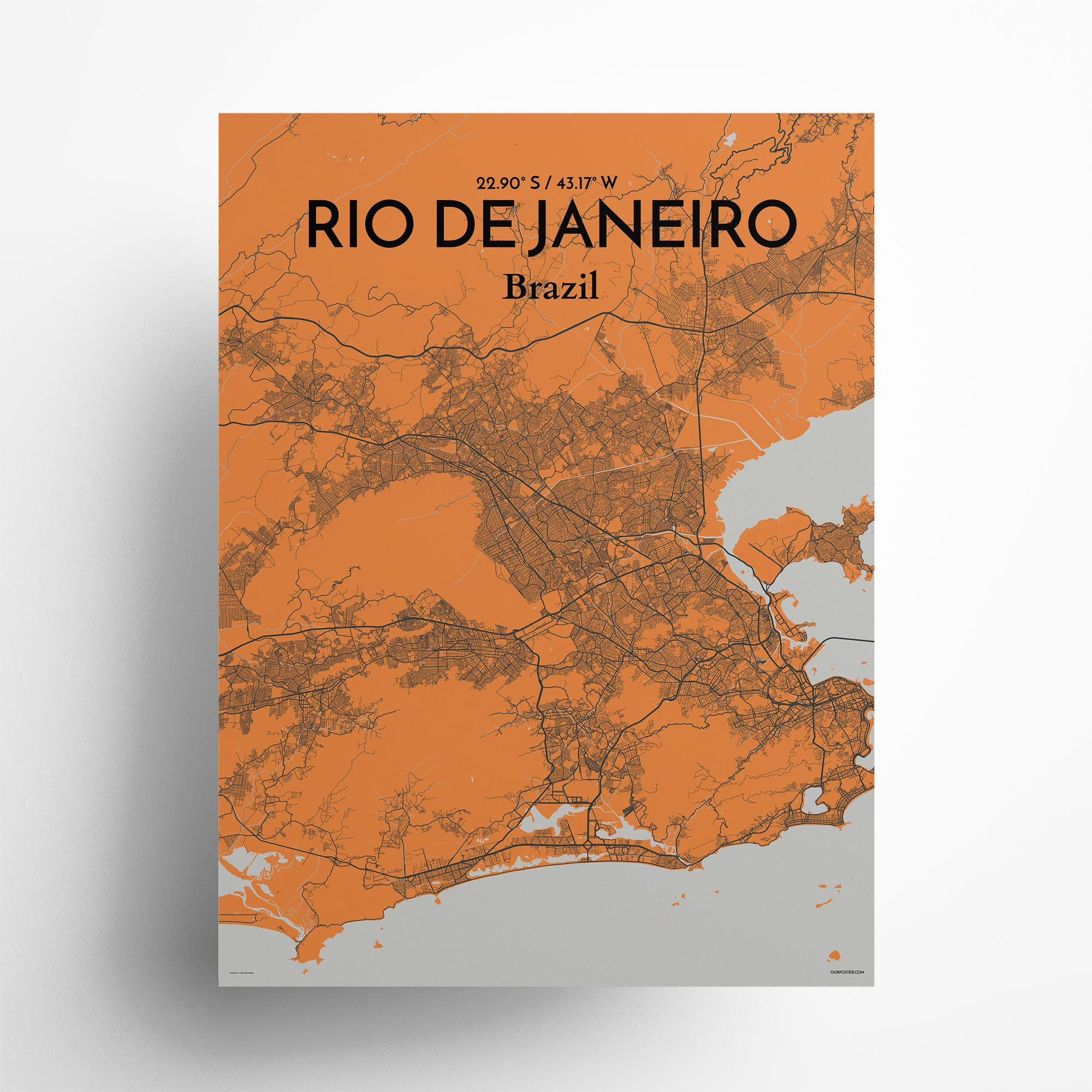 "Rio de Janeiro city map poster in Oranje of size 18"" x 24"""