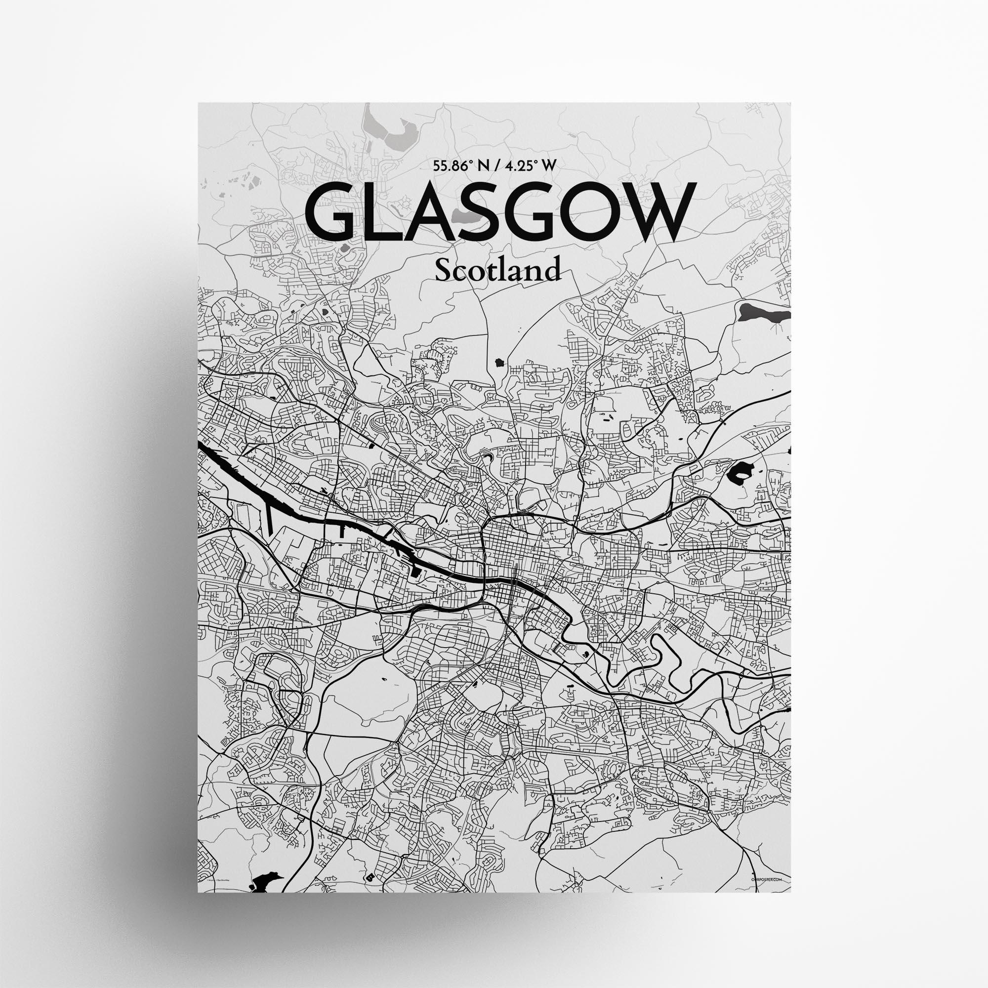 "GLASGOW city map poster in Ink of size 18"" x 24"""