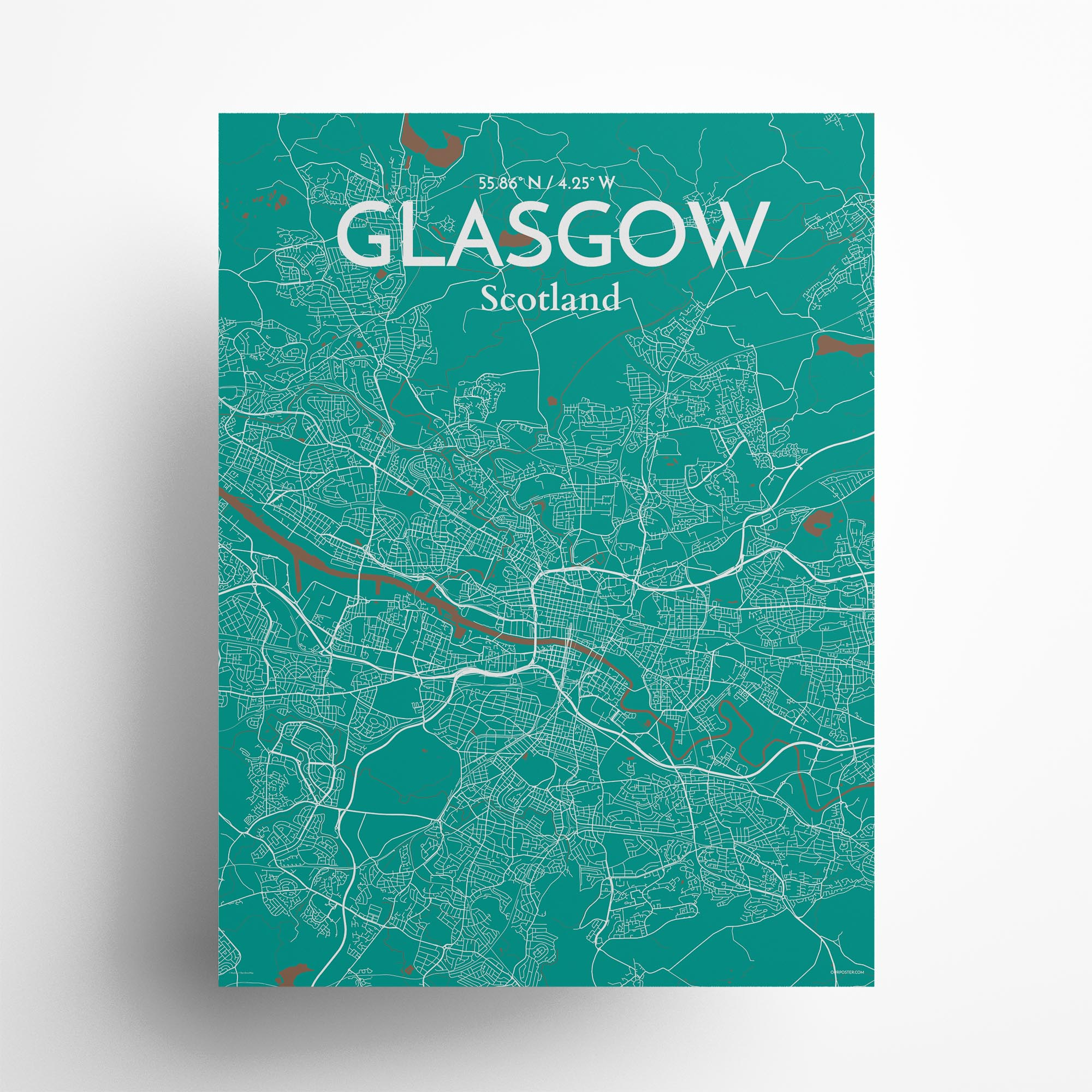 "Glasgow city map poster in Nature of size 18"" x 24"""