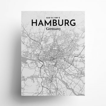"Hamburg city map poster in Tones of size 18"" x 24"""