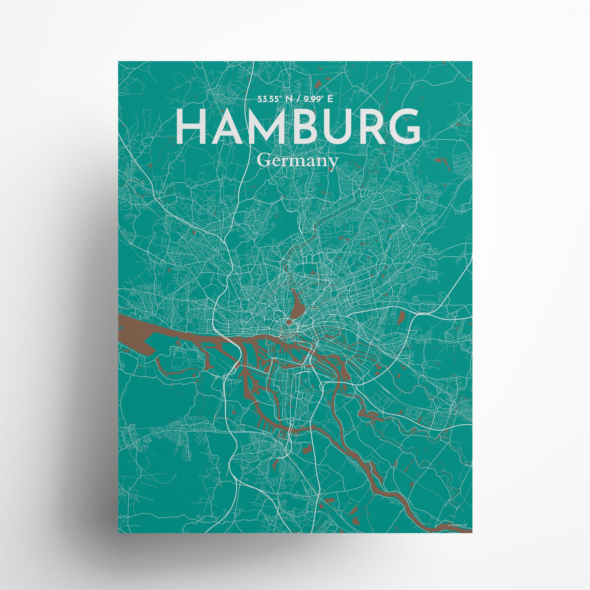 "Hamburg city map poster in Nature of size 18"" x 24"""