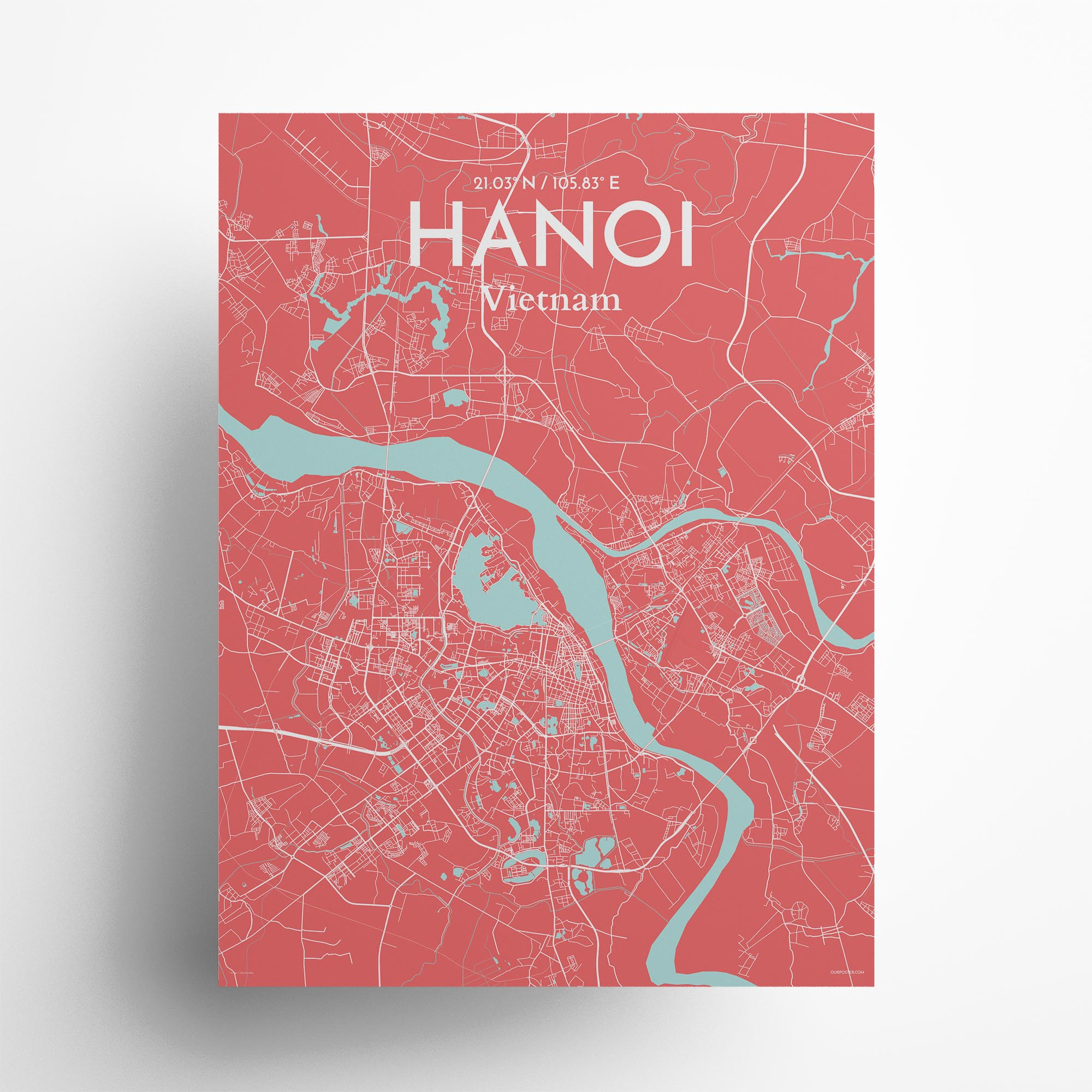 """Hanoi city map poster in Maritime of size 18"""" x 24"""""""