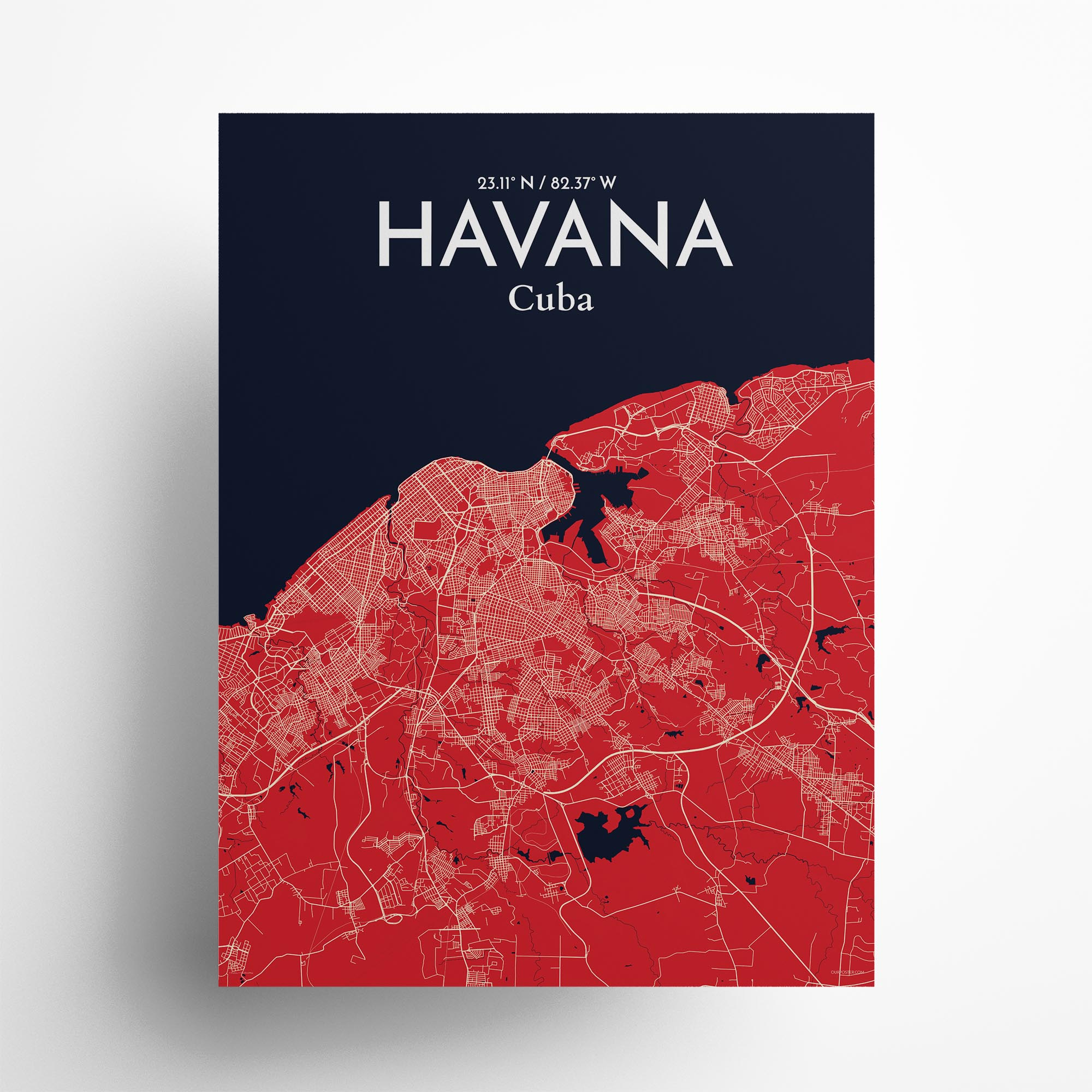 "Havana city map poster in Nautical of size 18"" x 24"""