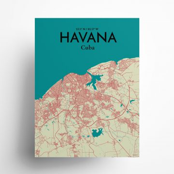 """Havana city map poster in Tricolor of size 18"""" x 24"""""""