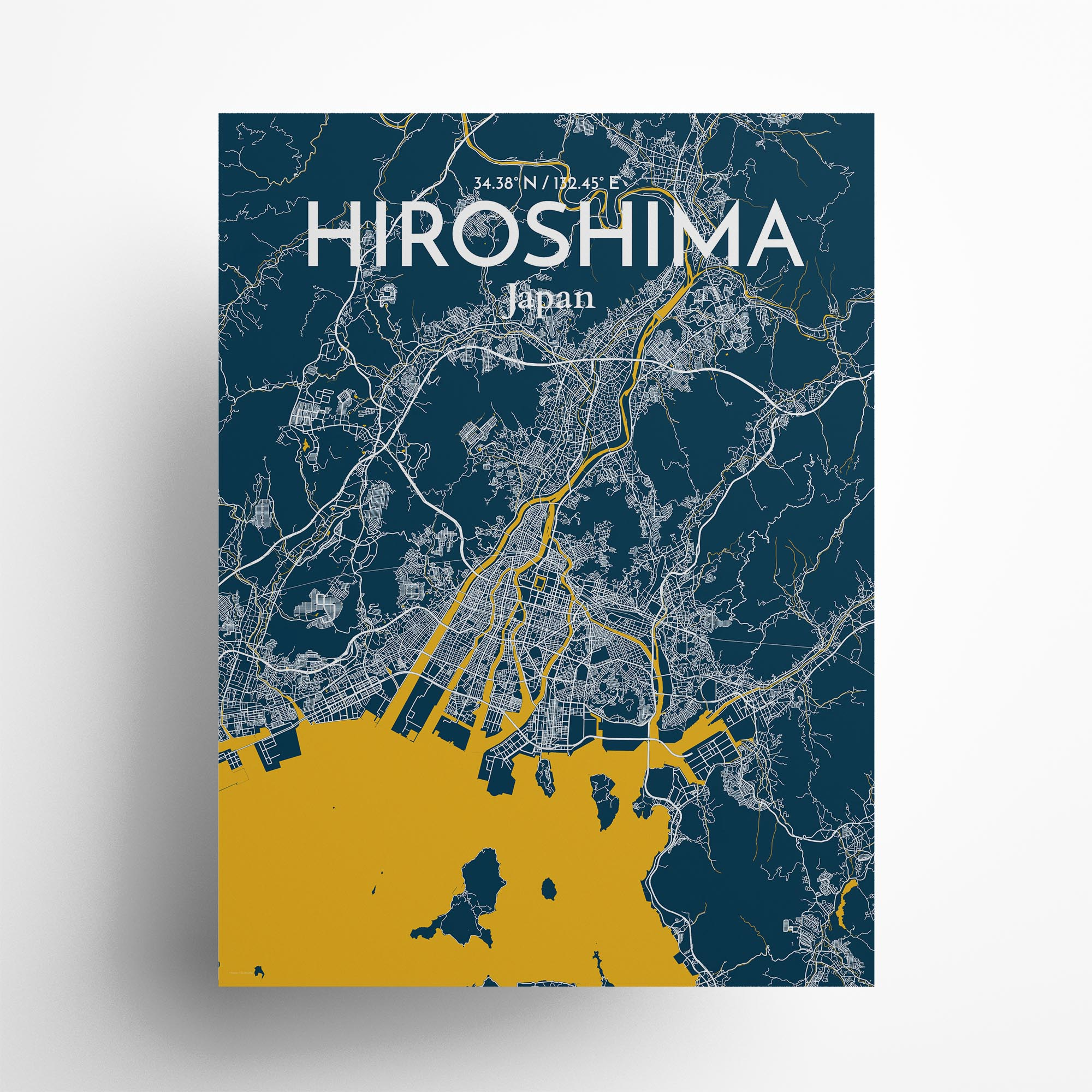 """Hiroshima city map poster in Amuse of size 18"""" x 24"""""""