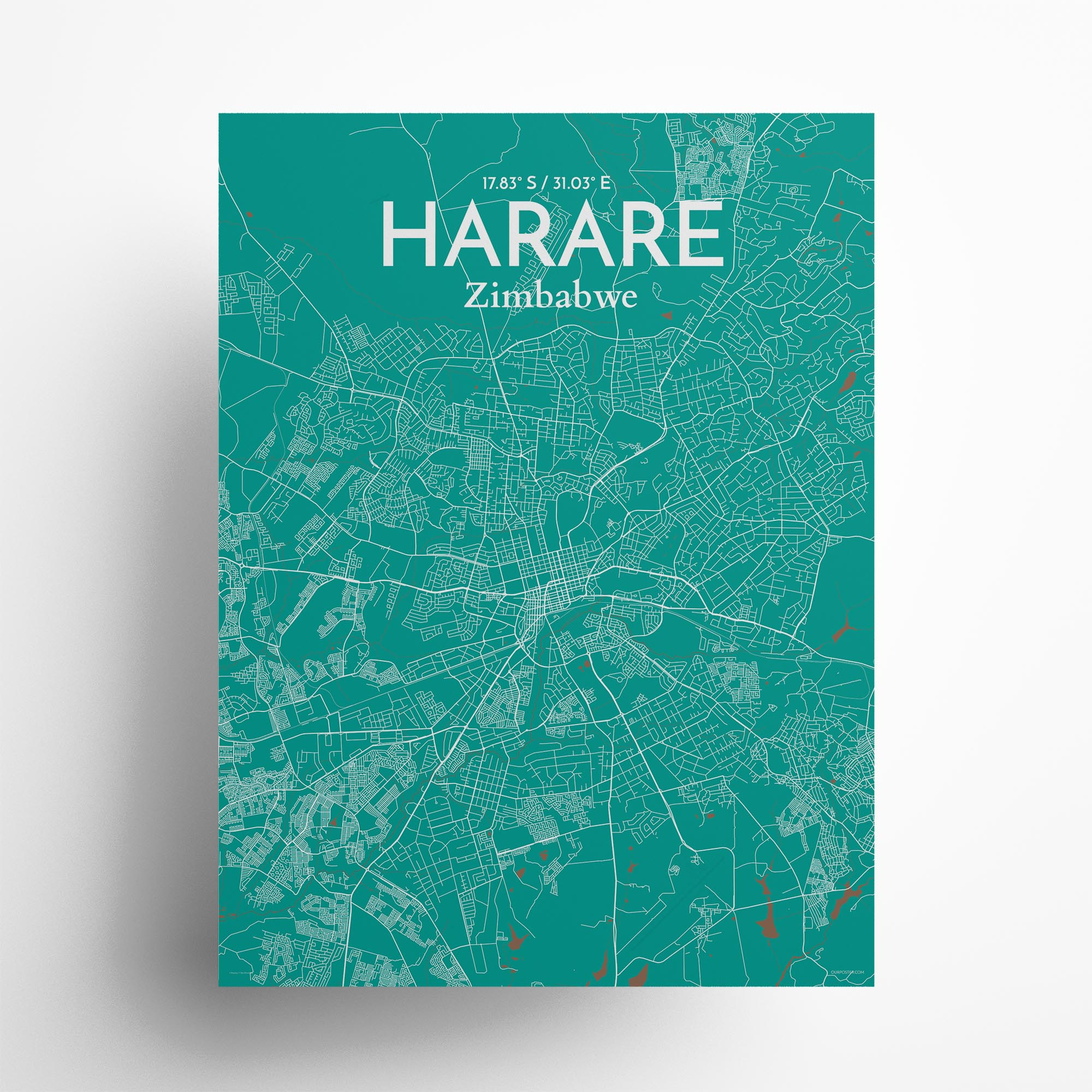 "Harare city map poster in Nature of size 18"" x 24"""