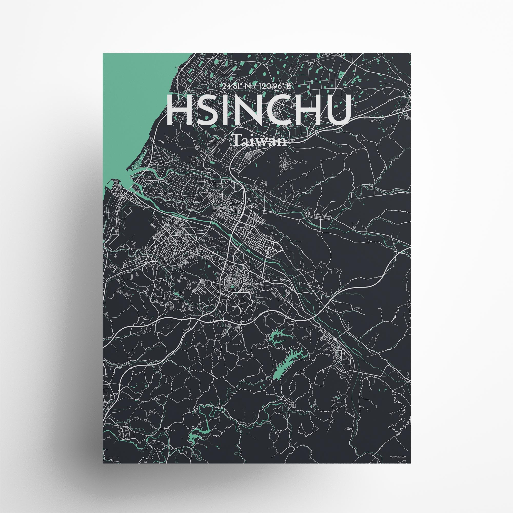 "Hsinchu city map poster in Dream of size 18"" x 24"""