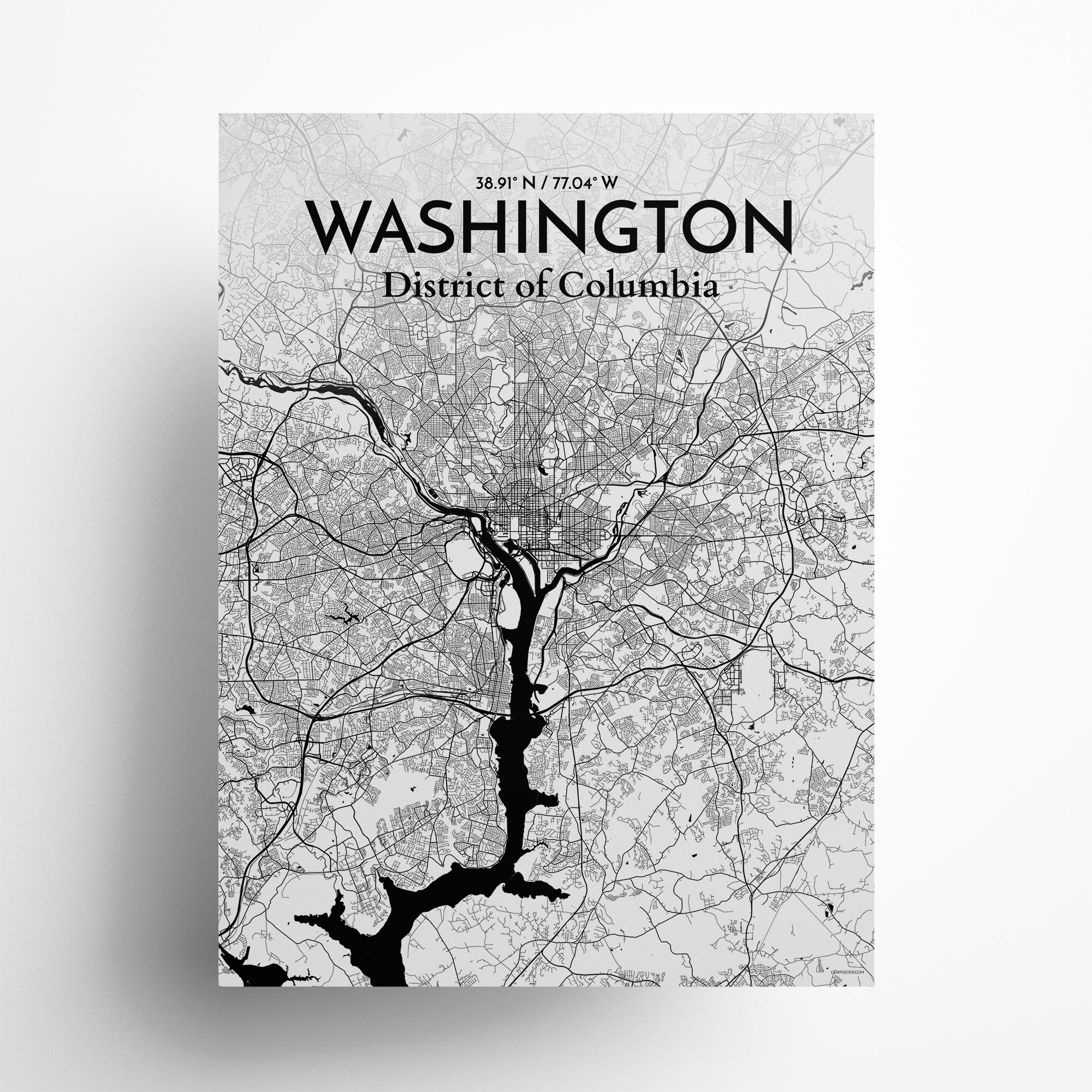 "Washington city map poster in Ink of size 18"" x 24"""