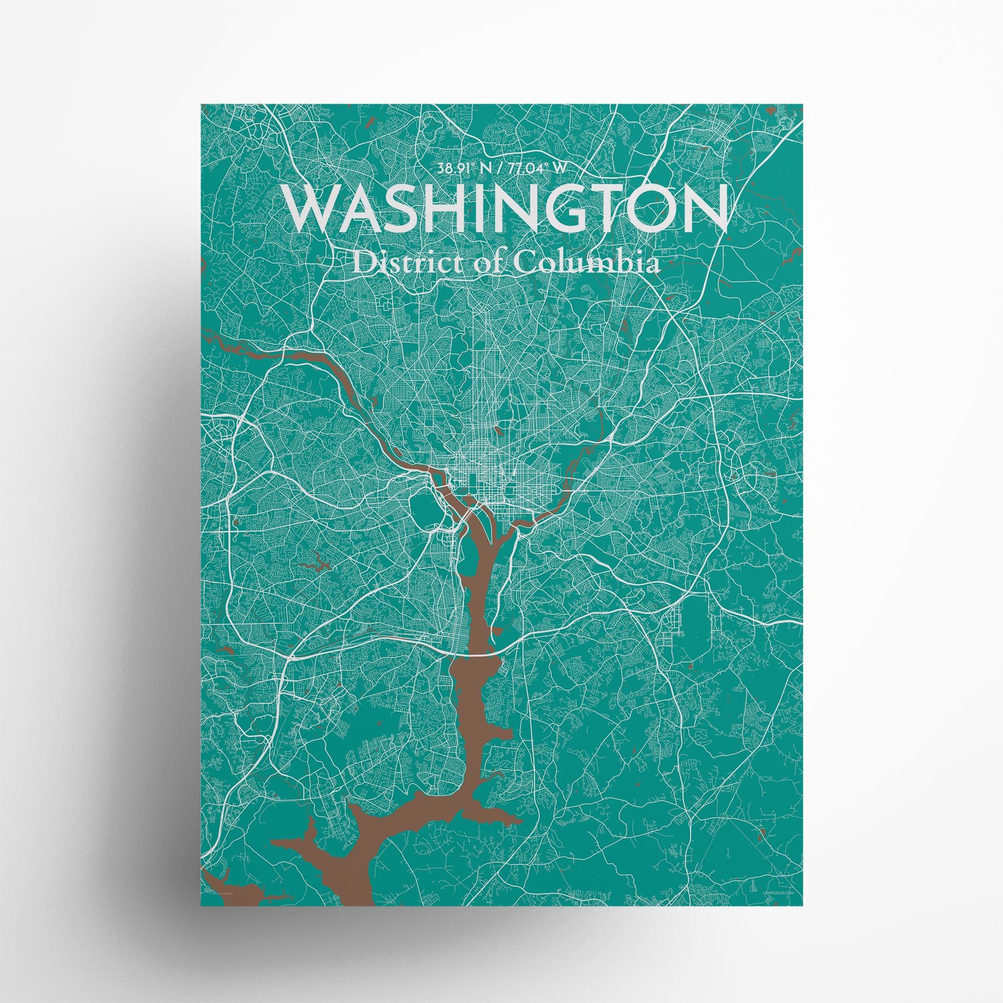 "Washington city map poster in Nature of size 18"" x 24"""