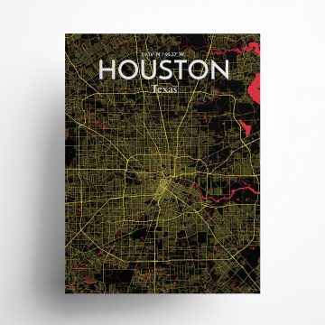 """Houston city map poster in Contrast of size 18"""" x 24"""""""
