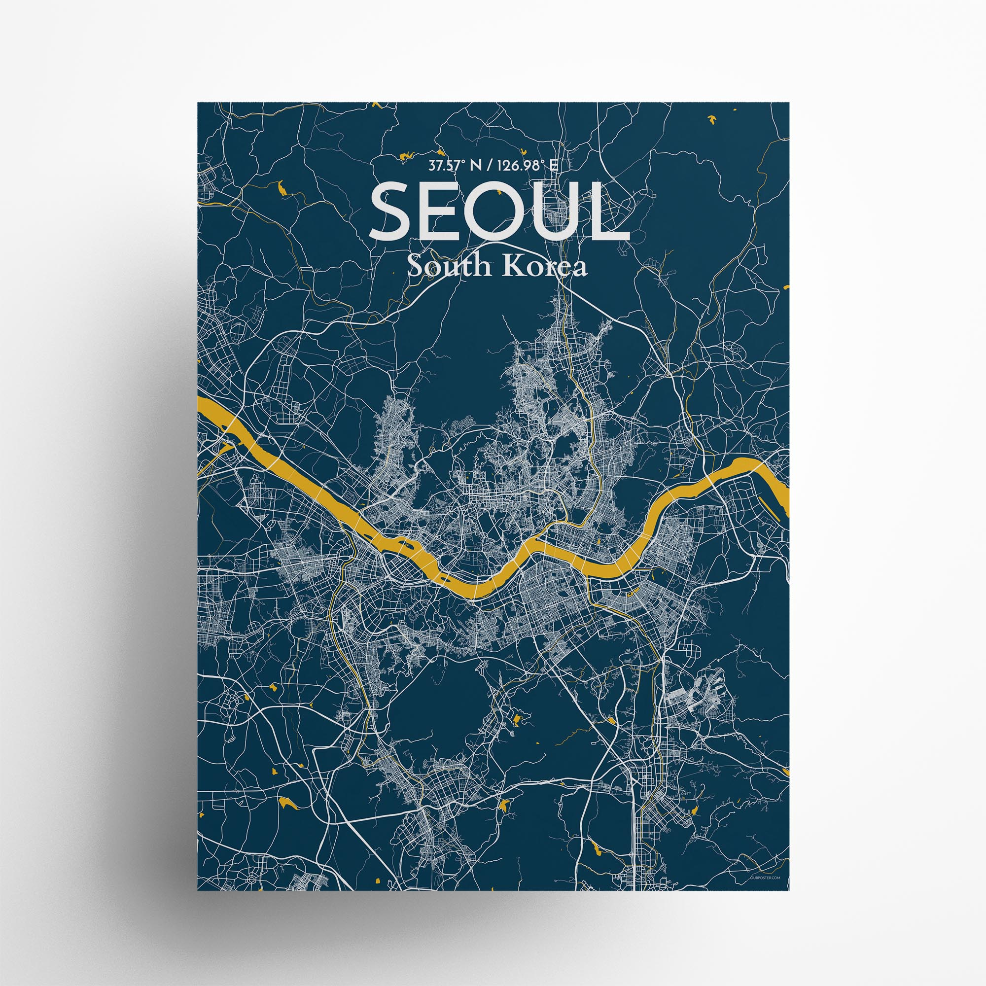 """Seoul city map poster in Amuse of size 18"""" x 24"""""""