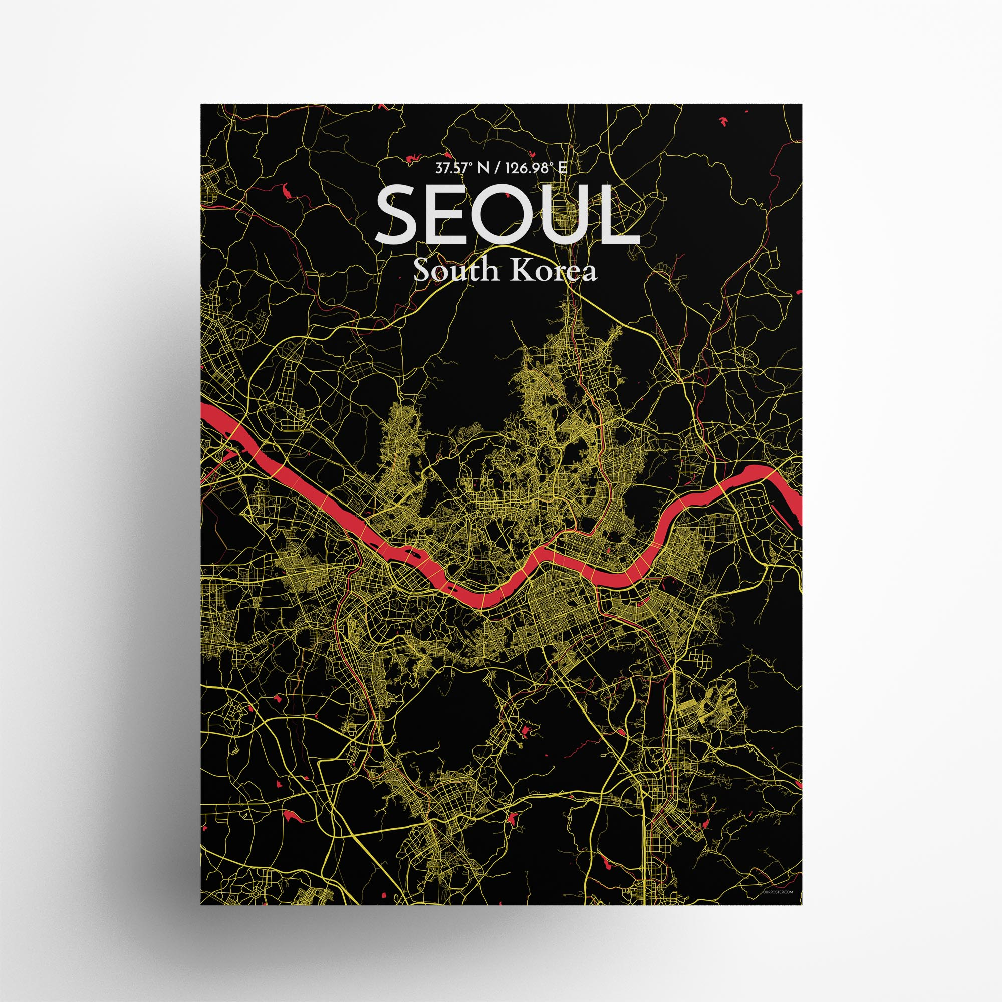 "Seoul city map poster in Contrast of size 18"" x 24"""