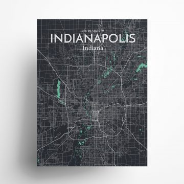 """Indianapolis city map poster in Dream of size 18"""" x 24"""""""