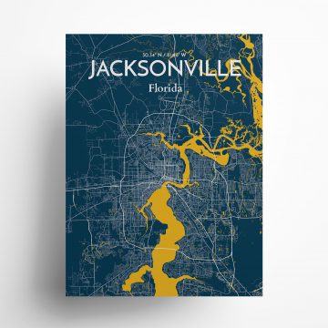 """Jacksonville city map poster in Amuse of size 18"""" x 24"""""""