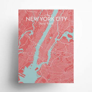 """New York City city map poster in Maritime of size 18"""" x 24"""""""
