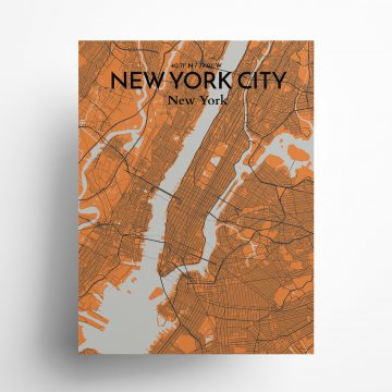 """New York City city map poster in Oranje of size 18"""" x 24"""""""