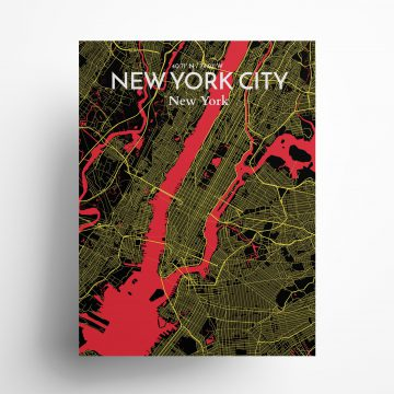 """New York City city map poster in Contrast of size 18"""" x 24"""""""