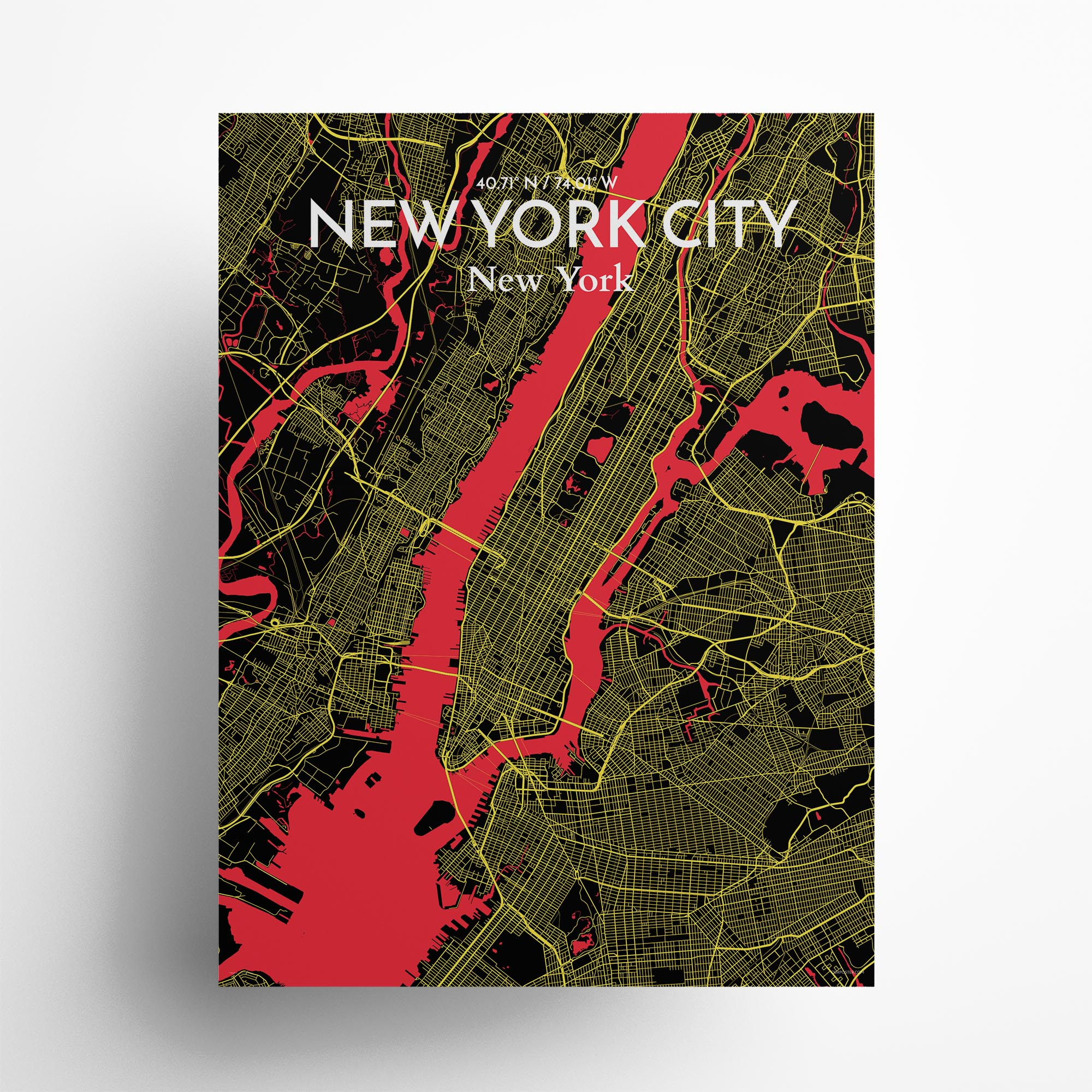 "New York City city map poster in Contrast of size 18"" x 24"""