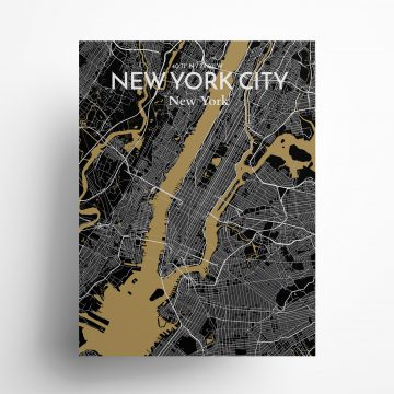 """New York City city map poster in Luxe of size 18"""" x 24"""""""