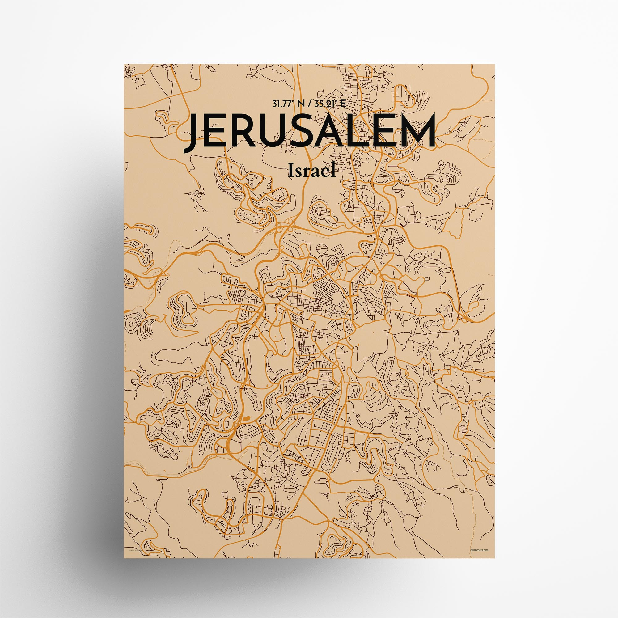 "Jerusalem city map poster in Vintage of size 18"" x 24"""