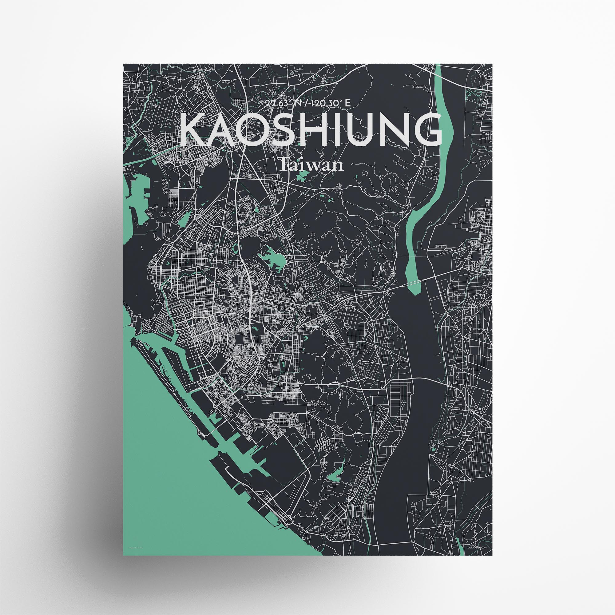 "Kaoshiung city map poster in Dream of size 18"" x 24"""