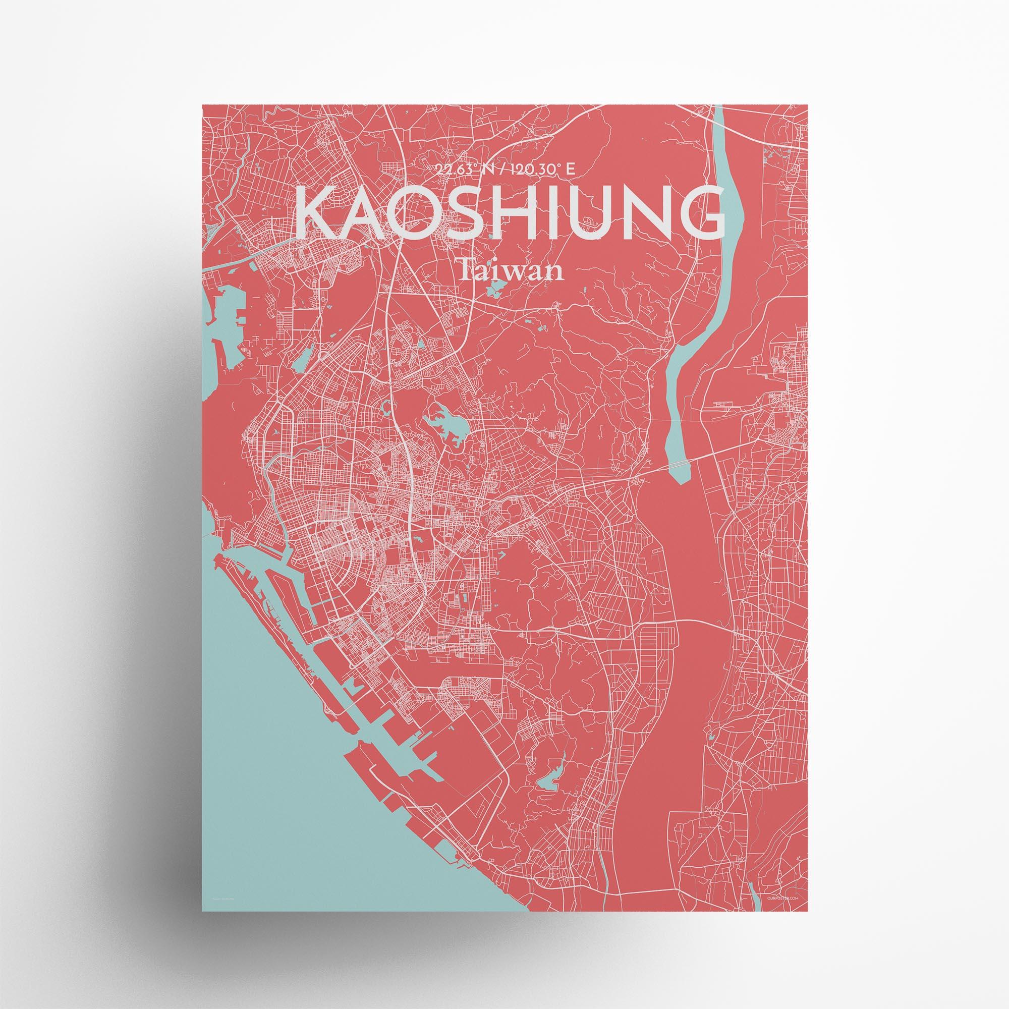 "Kaoshiung city map poster in Maritime of size 18"" x 24"""