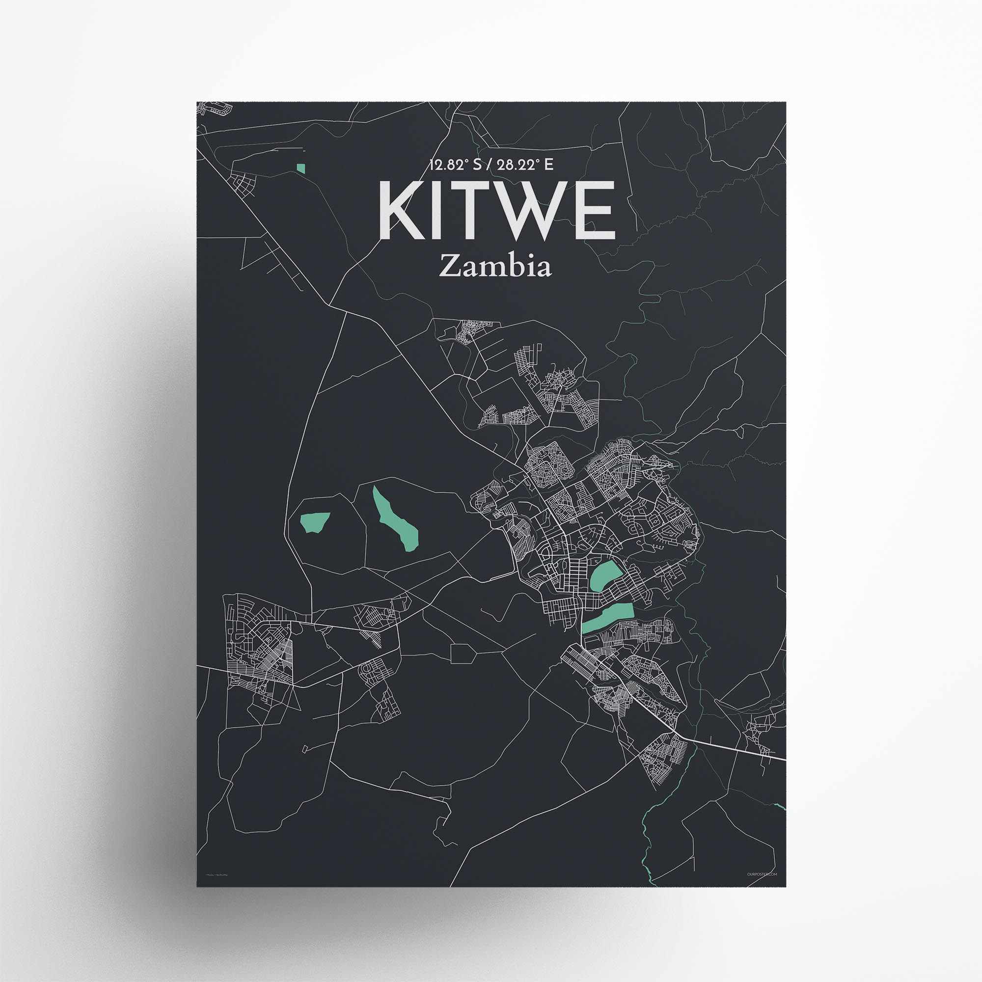 """Kitwe city map poster in Dream of size 18"""" x 24"""""""