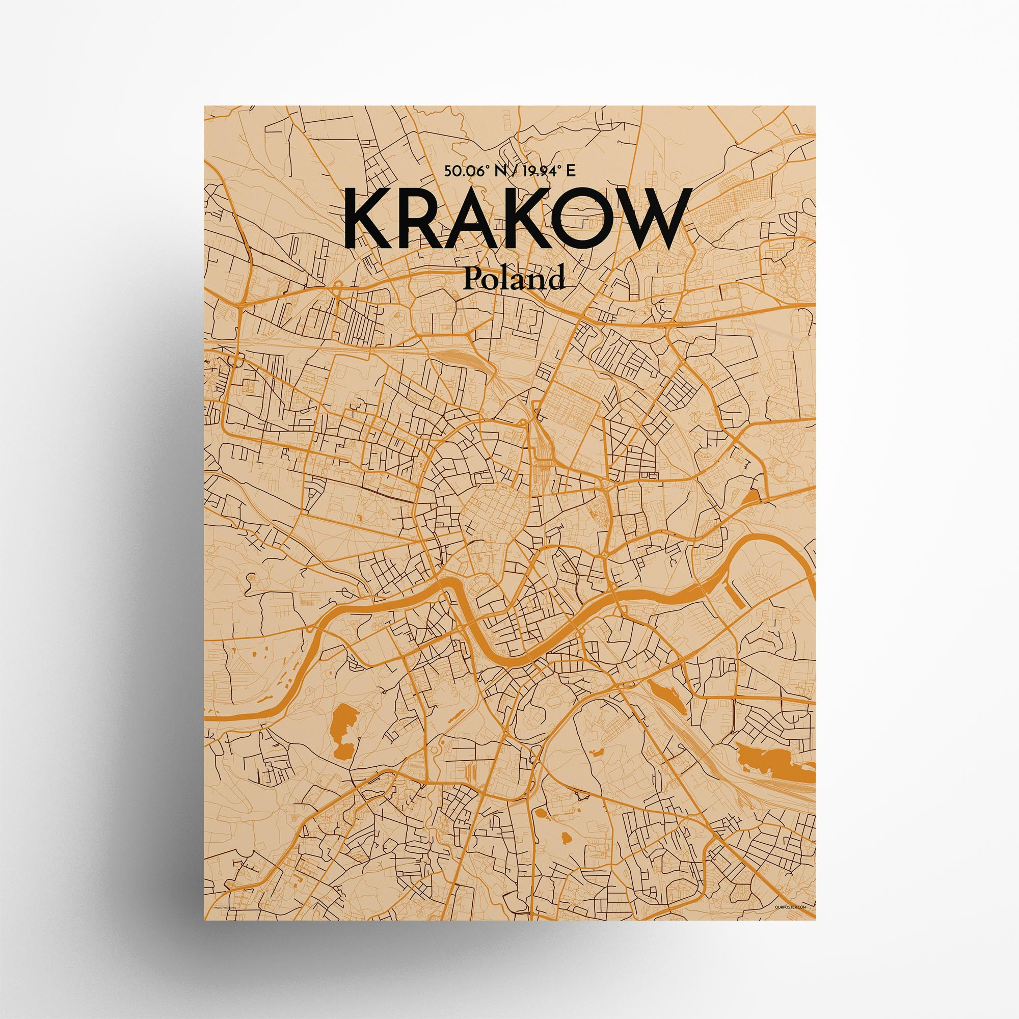 "Krakow city map poster in Vintage of size 18"" x 24"""