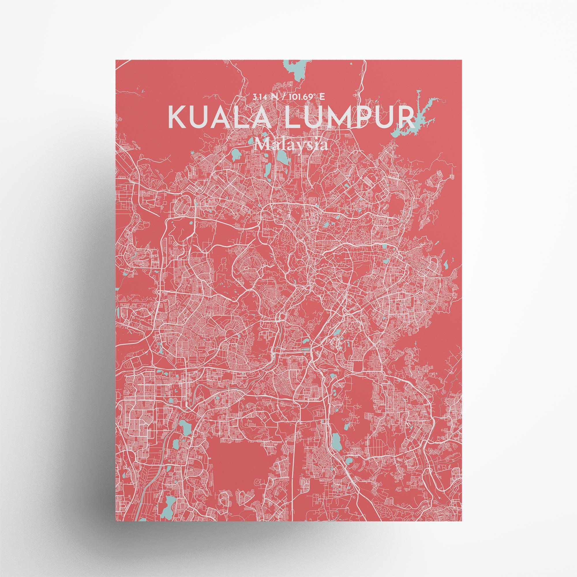 "Kuala Lumpur city map poster in Maritime of size 18"" x 24"""