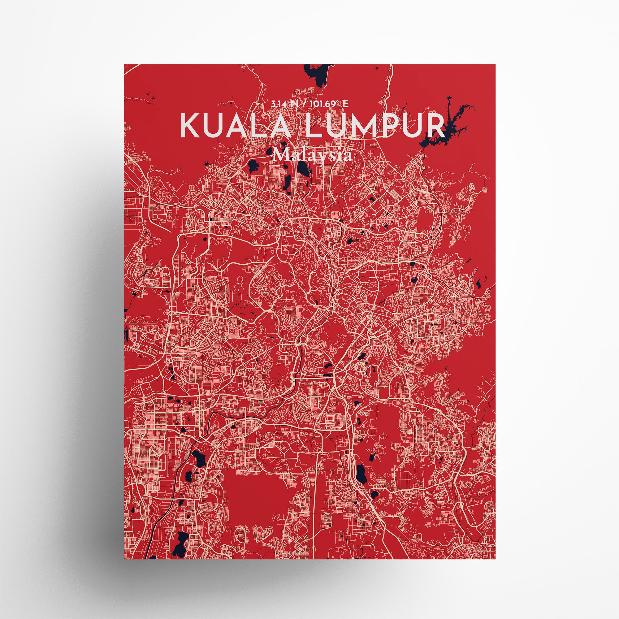 "Kuala Lumpur city map poster in Nautical of size 18"" x 24"""