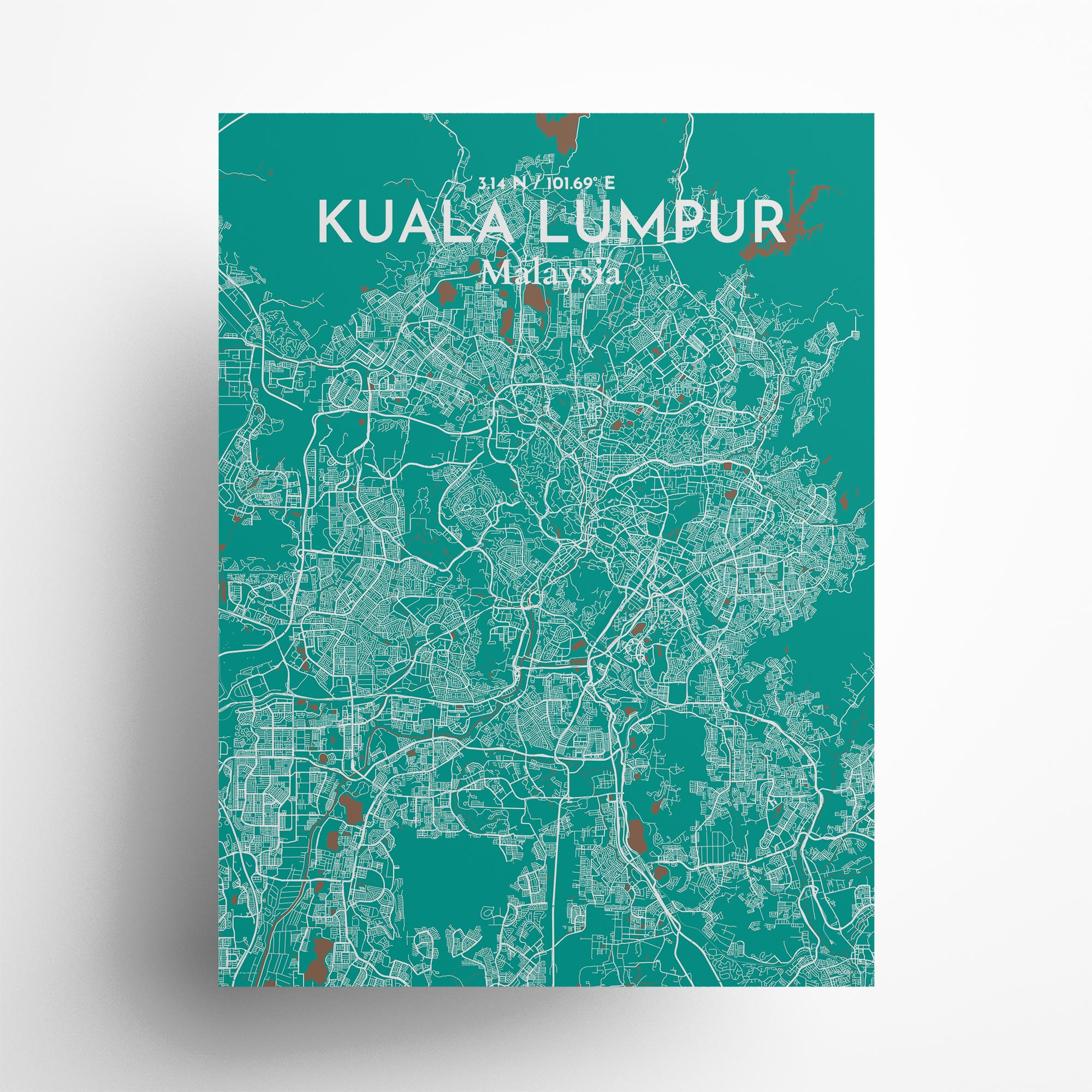 "Kuala Lumpur city map poster in Nature of size 18"" x 24"""
