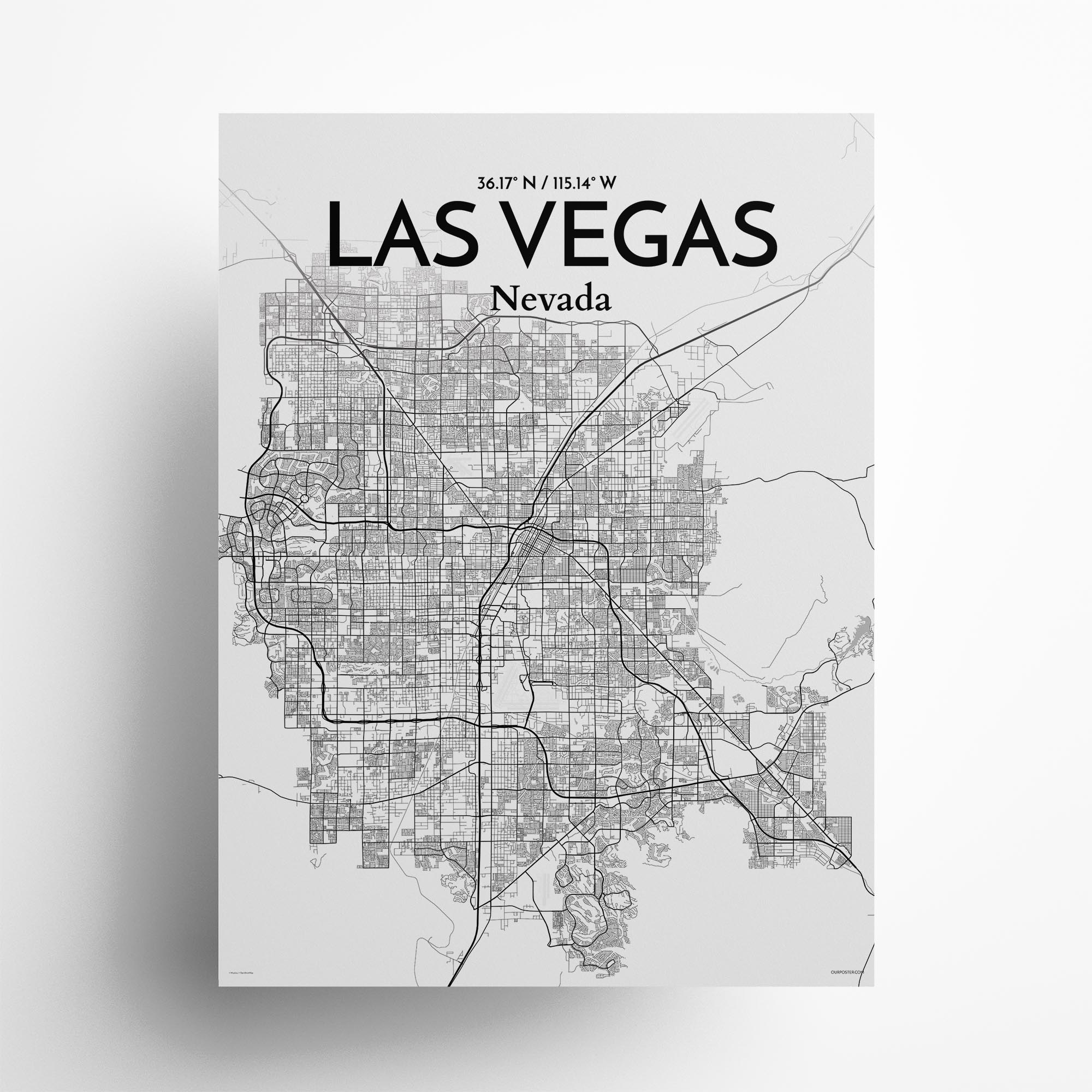 "Las Vegas city map poster in Tones of size 18"" x 24"""
