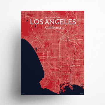 """Los Angeles city map poster in Nautical of size 18"""" x 24"""""""