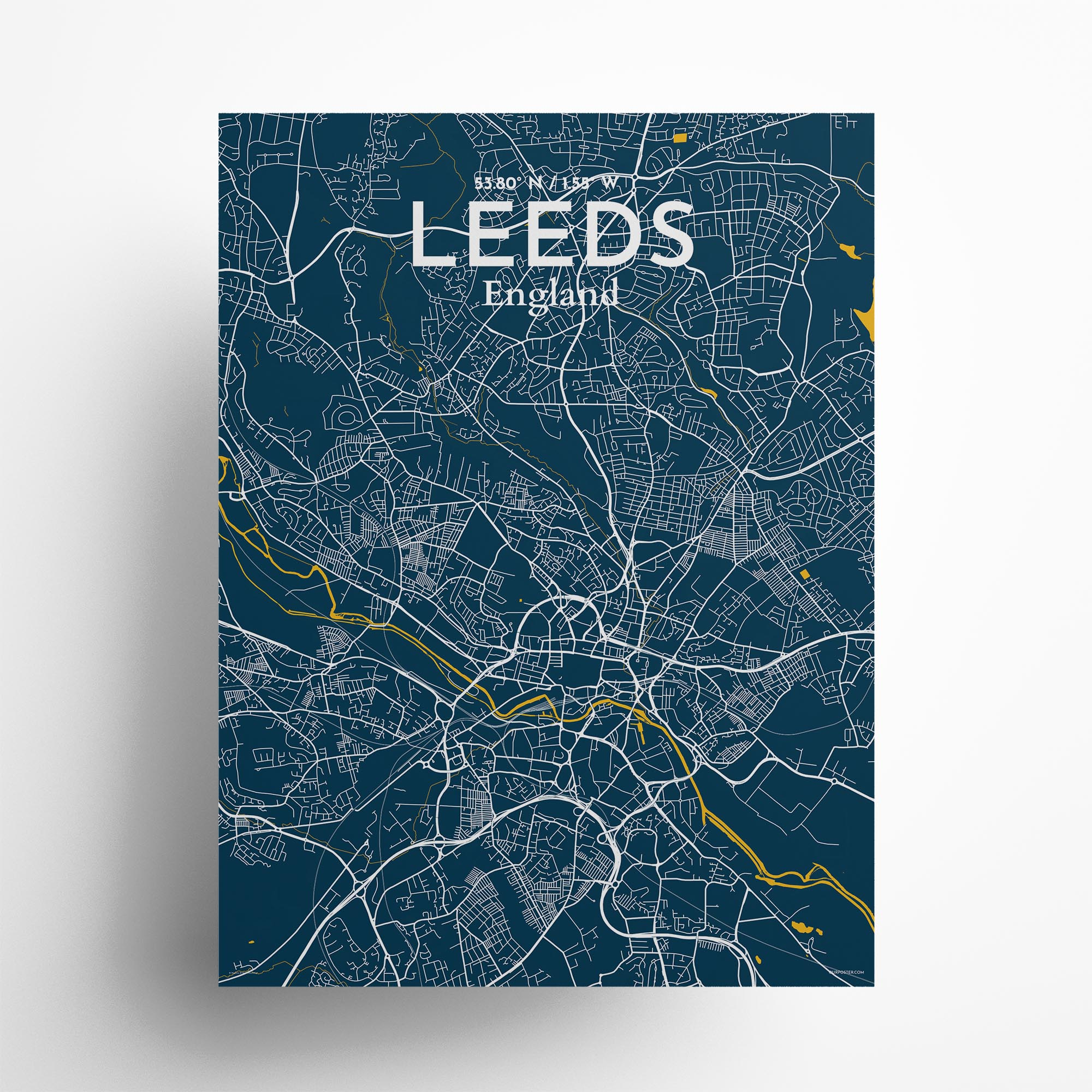 "Leeds city map poster in Amuse of size 18"" x 24"""