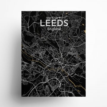 "Leeds city map poster in Luxe of size 18"" x 24"""