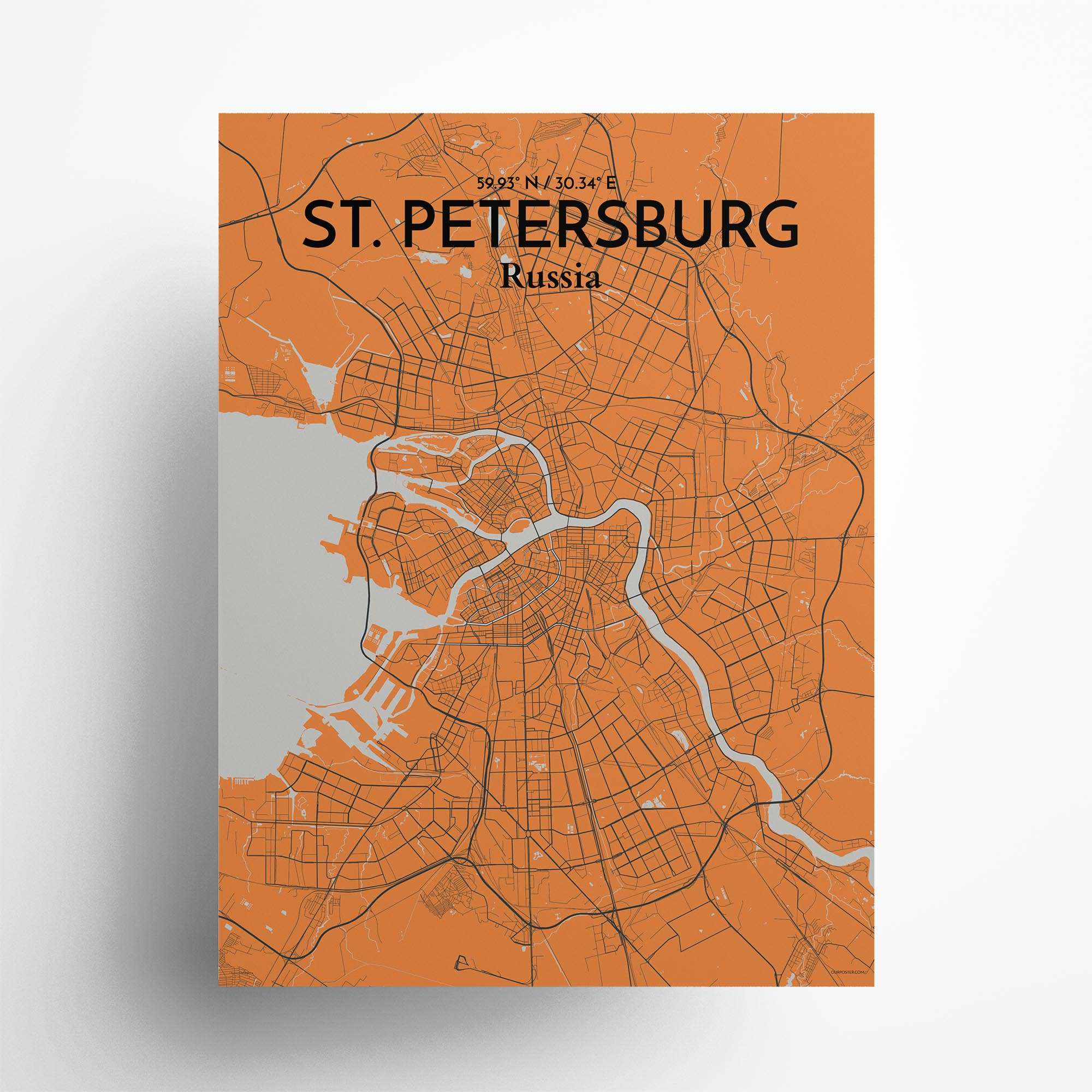 "St. Petersburg city map poster in Oranje of size 18"" x 24"""