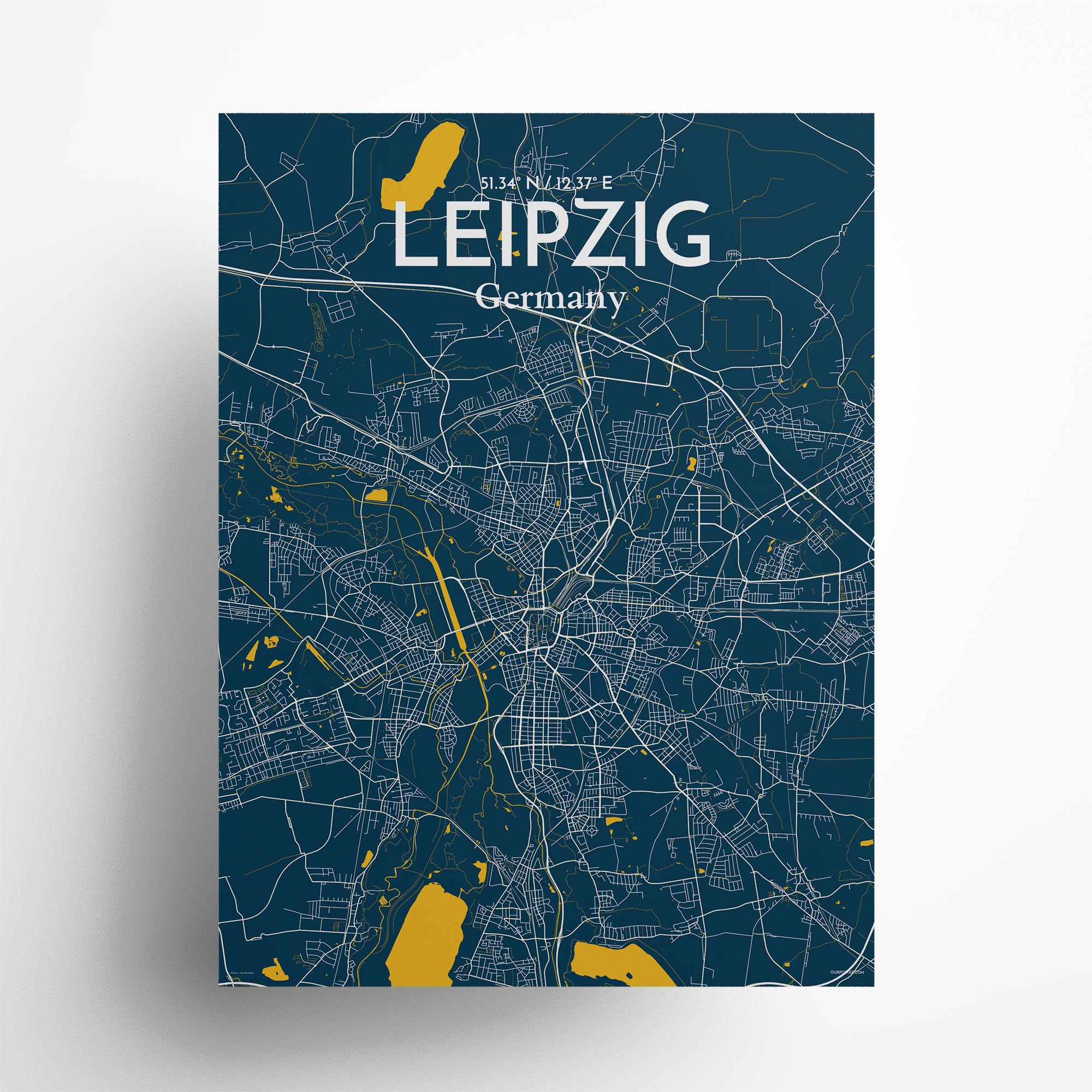 "Leipzig city map poster in Amuse of size 18"" x 24"""
