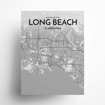 """Long Beach city map poster in Tones of size 18"""" x 24"""""""