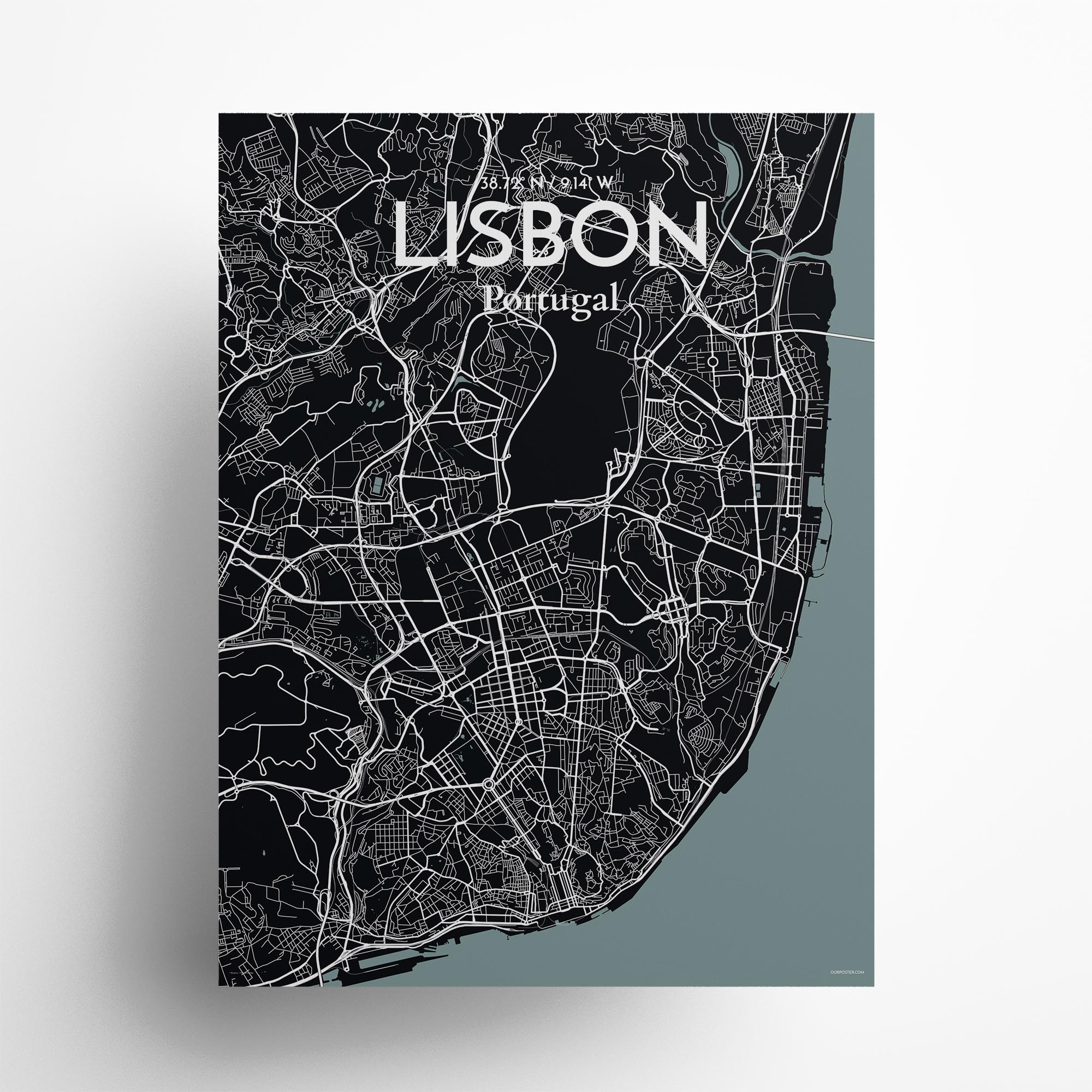 "Lisbon city map poster in Midnight of size 18"" x 24"""