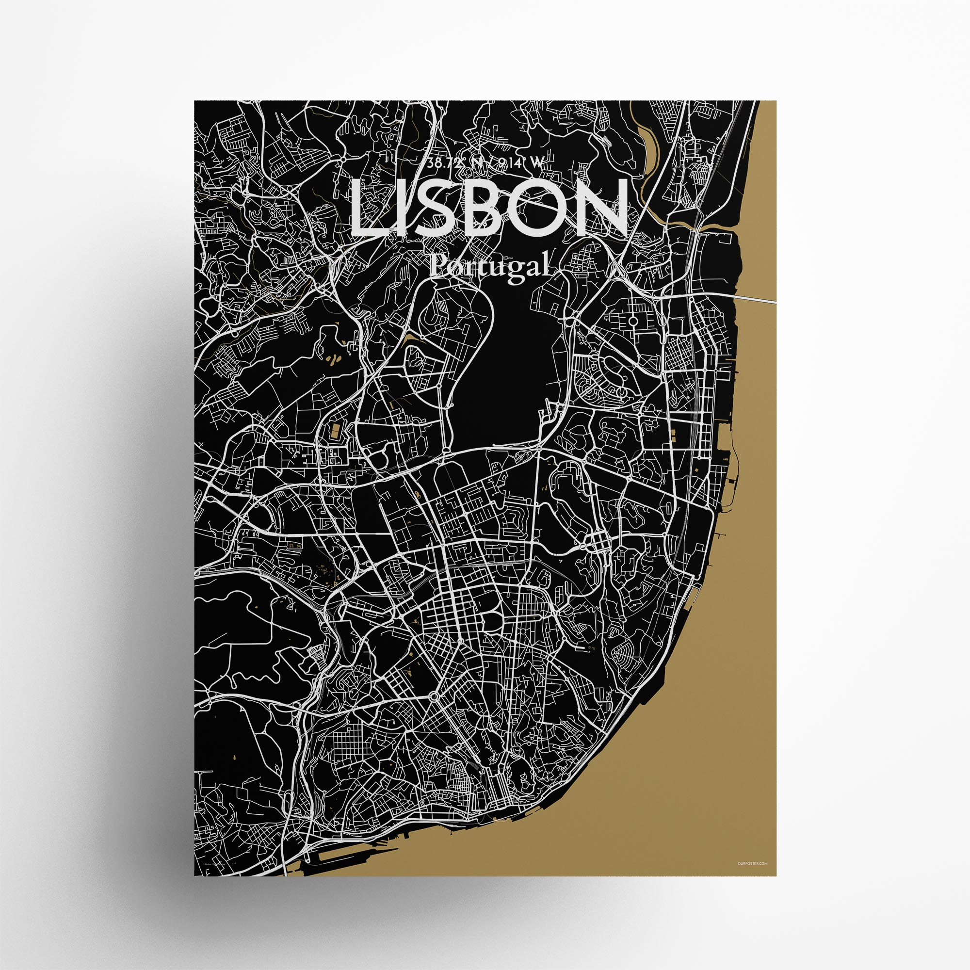 "Lisbon city map poster in Luxe of size 18"" x 24"""