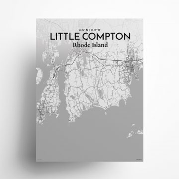 """Litle Compton city map poster in Tones of size 18"""" x 24"""""""