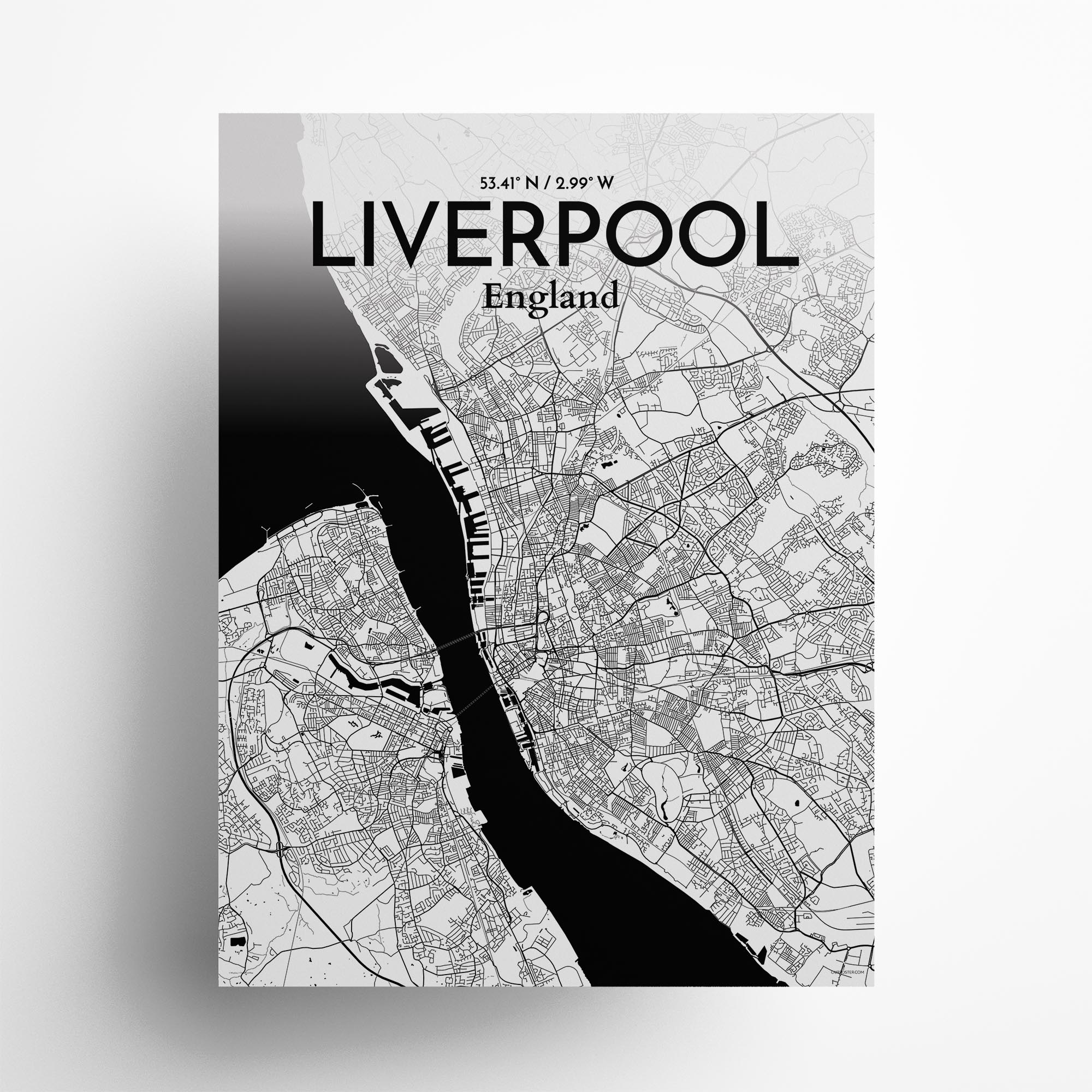 "Liverpool city map poster in Ink of size 18"" x 24"""