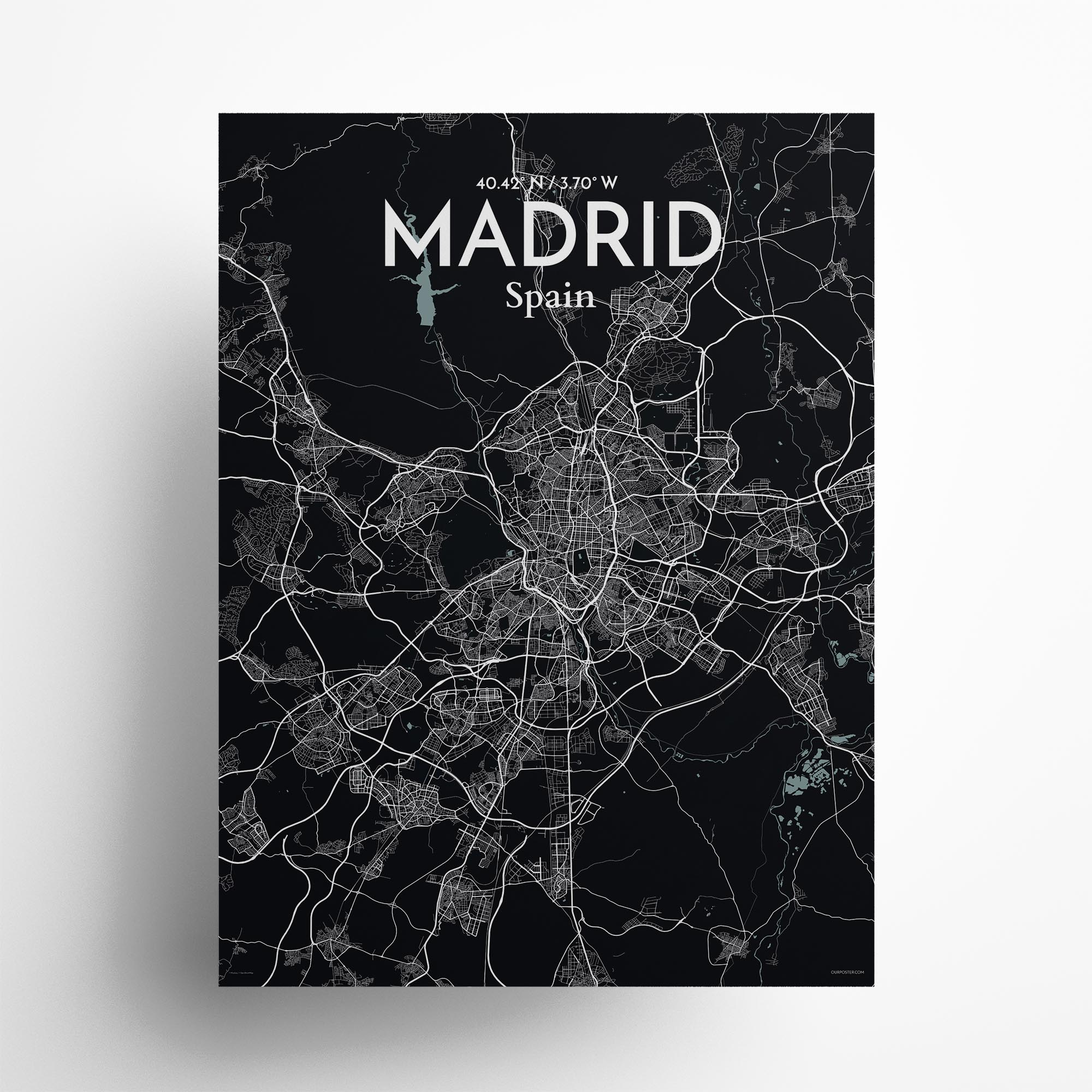 "Madrid city map poster in Midnight of size 18"" x 24"""