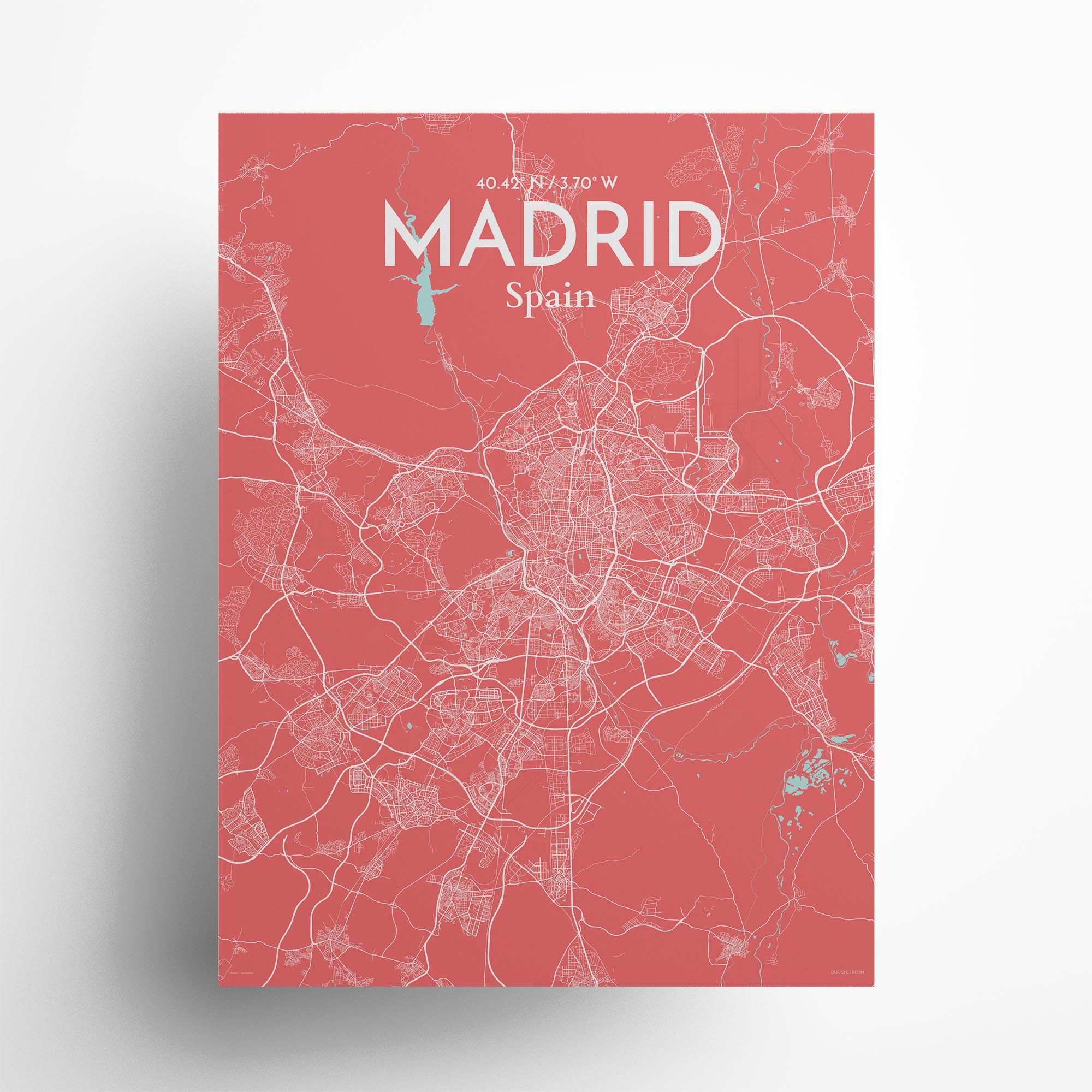 "Madrid city map poster in Maritime of size 18"" x 24"""