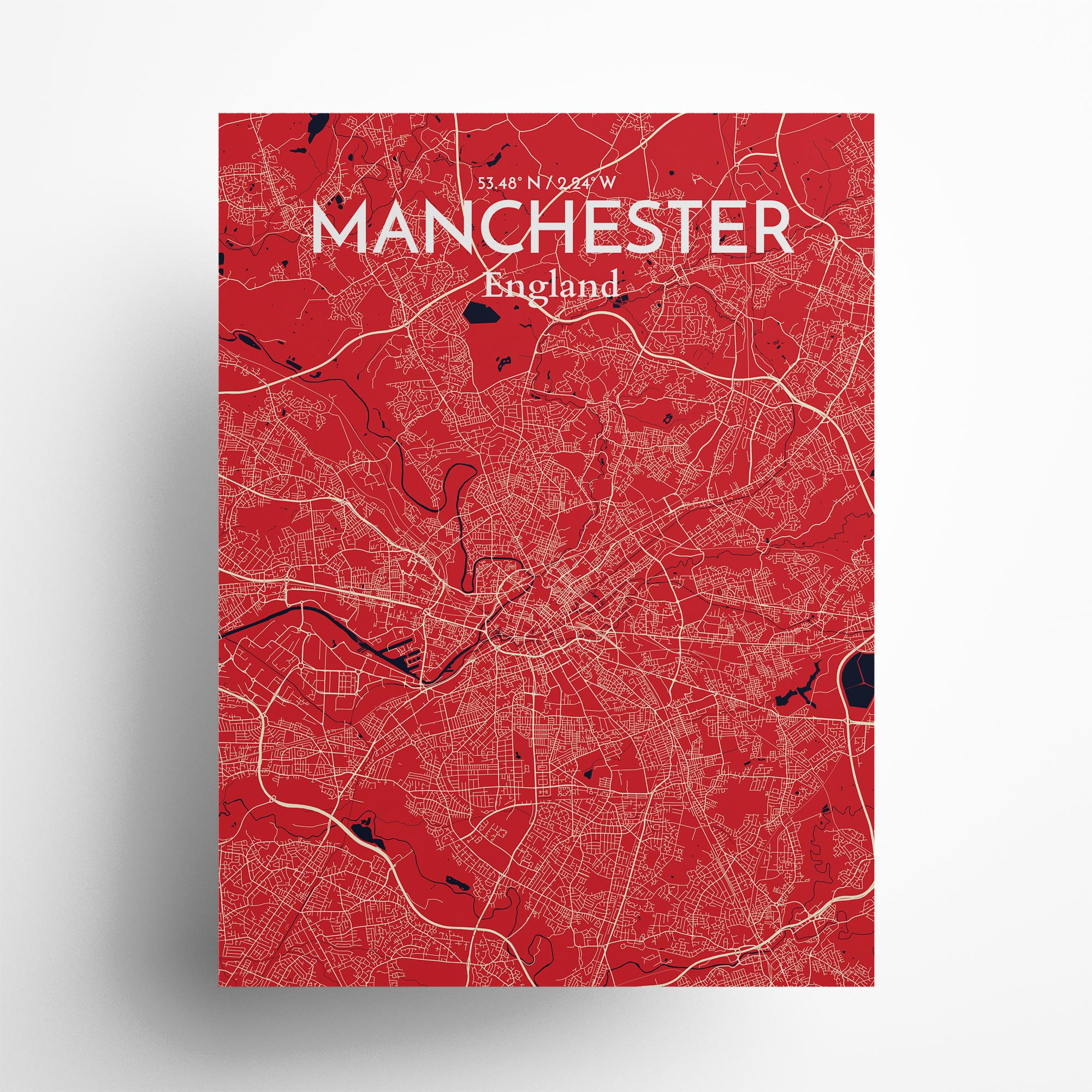 "Manchester city map poster in Nautical of size 18"" x 24"""
