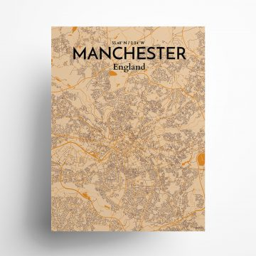 "Manchester city map poster in Vintage of size 18"" x 24"""