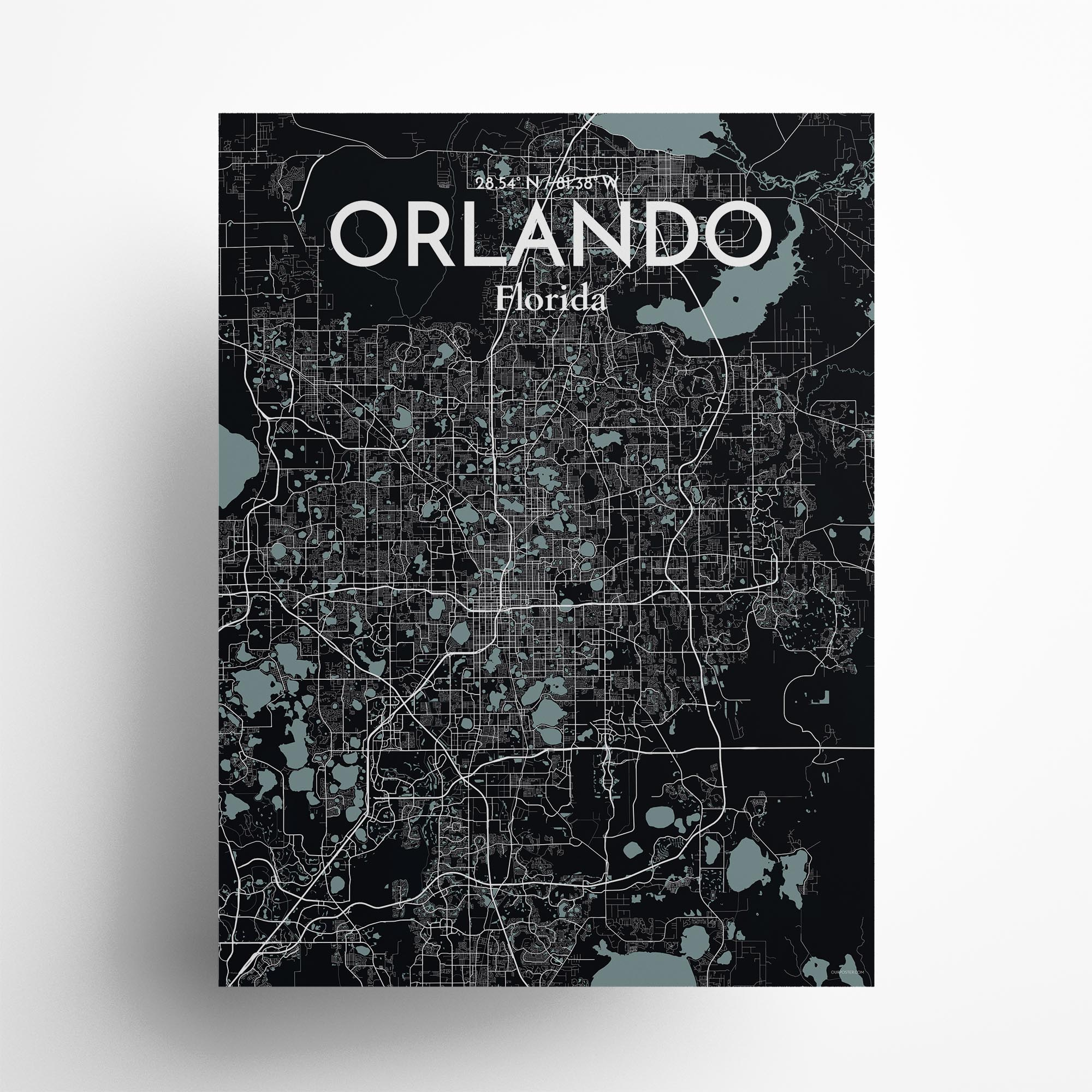"Orlando city map poster in Midnight of size 18"" x 24"""