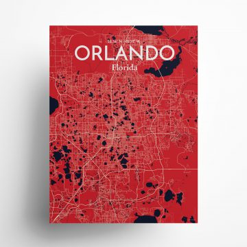"""Orlando city map poster in Nautical of size 18"""" x 24"""""""